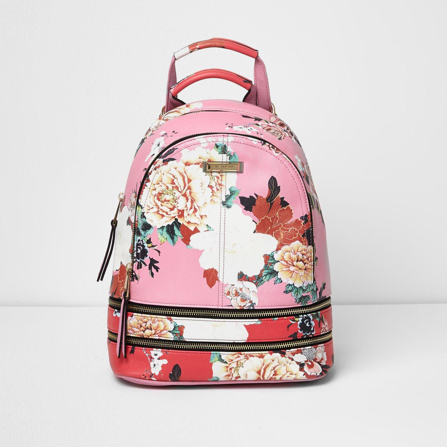 River Island Pink And Red Floral Zip Backpack In Pink Lyst