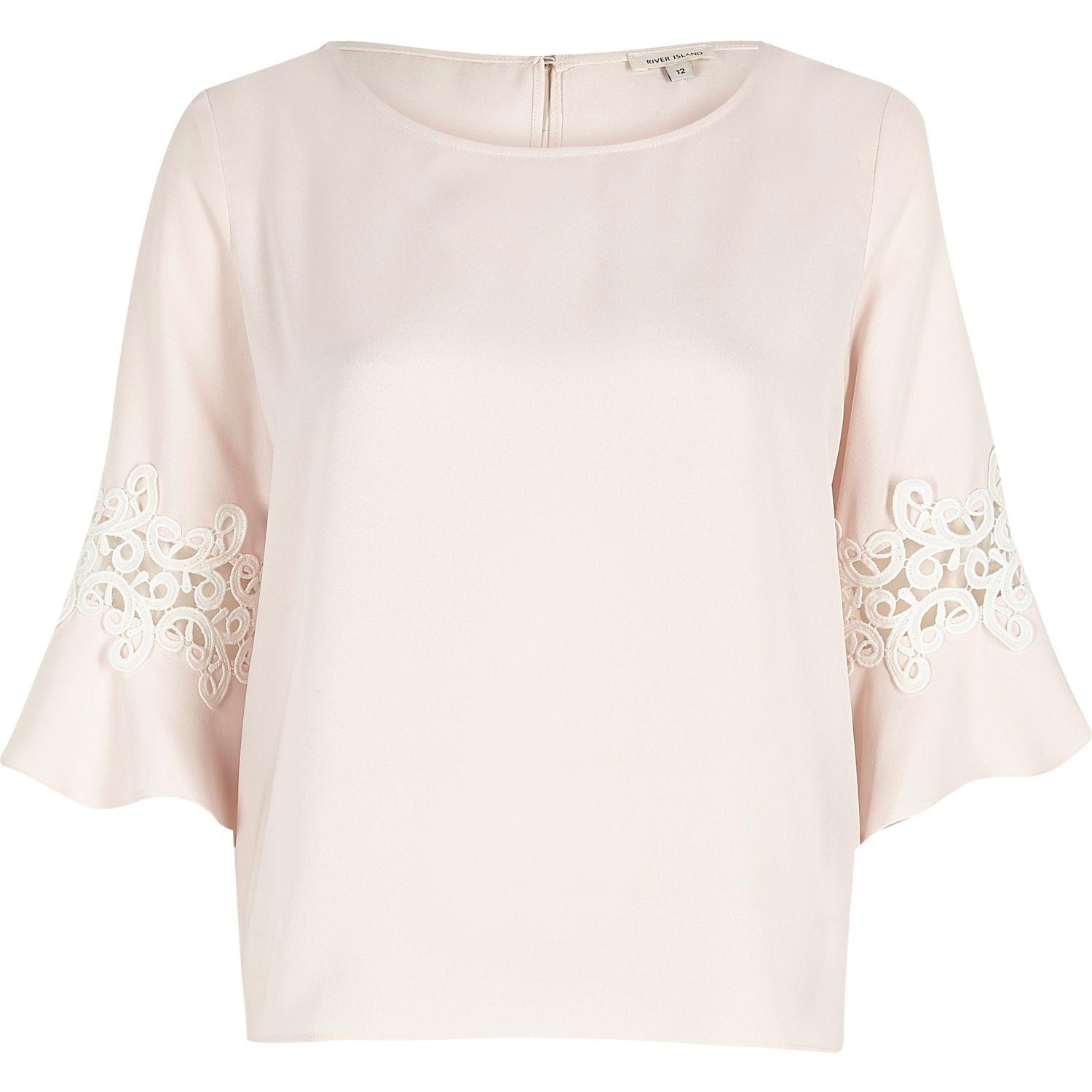 91ef331b38c River Island Light Pink Lace Trim Bell Sleeve Top in Pink - Lyst