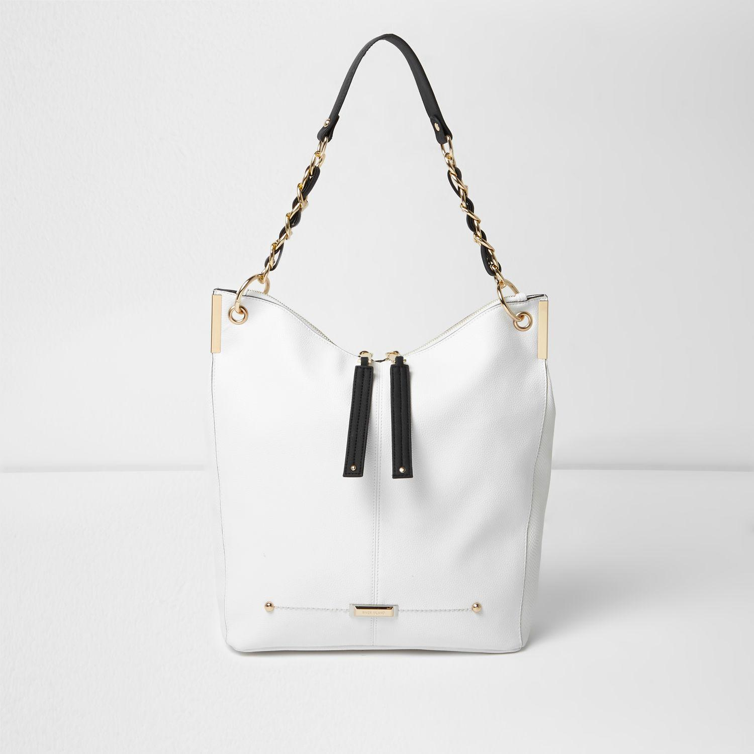 River Island White And Gold Tone Chain Slouch Tote Bag In