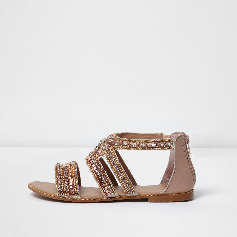 River Island Rose Gold Embellished Multi Strap Sandals In