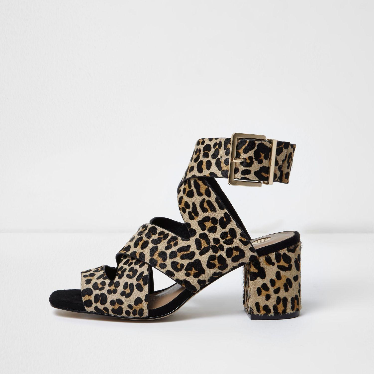 Leopard Block Heel Shoes