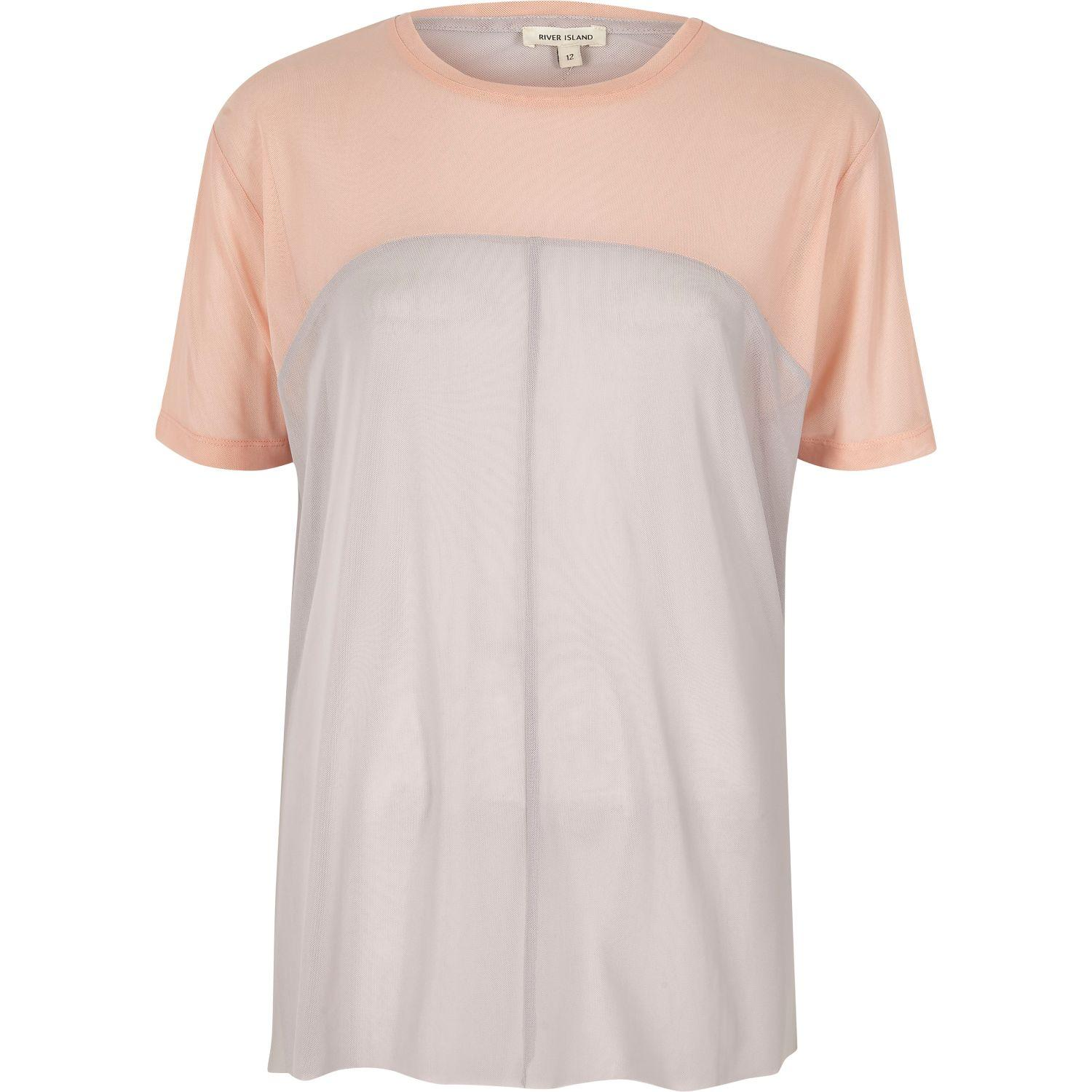 River Island Pink Mesh Colour Block Oversized T Shirt In