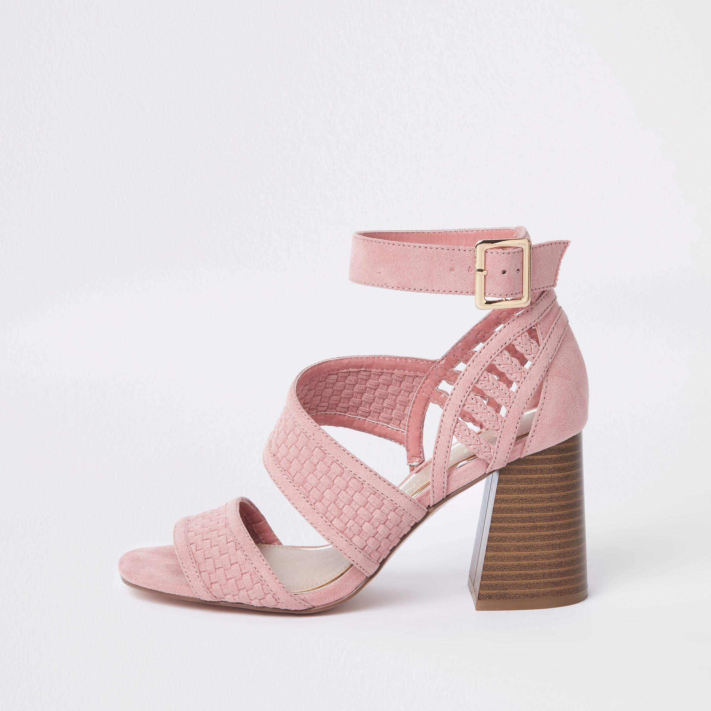 f9cc4ac5a0d Lyst - River Island Pink Wide Fit Strappy Block Heel Sandals in Pink