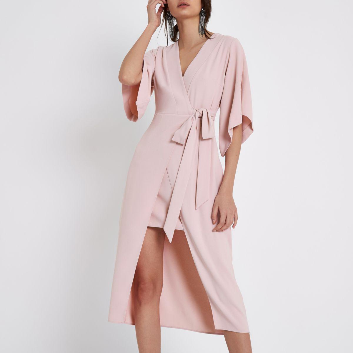 c572b53fd56 River Island Light Pink Wrap Front Kimono Midi Dress Light Pink Wrap ...