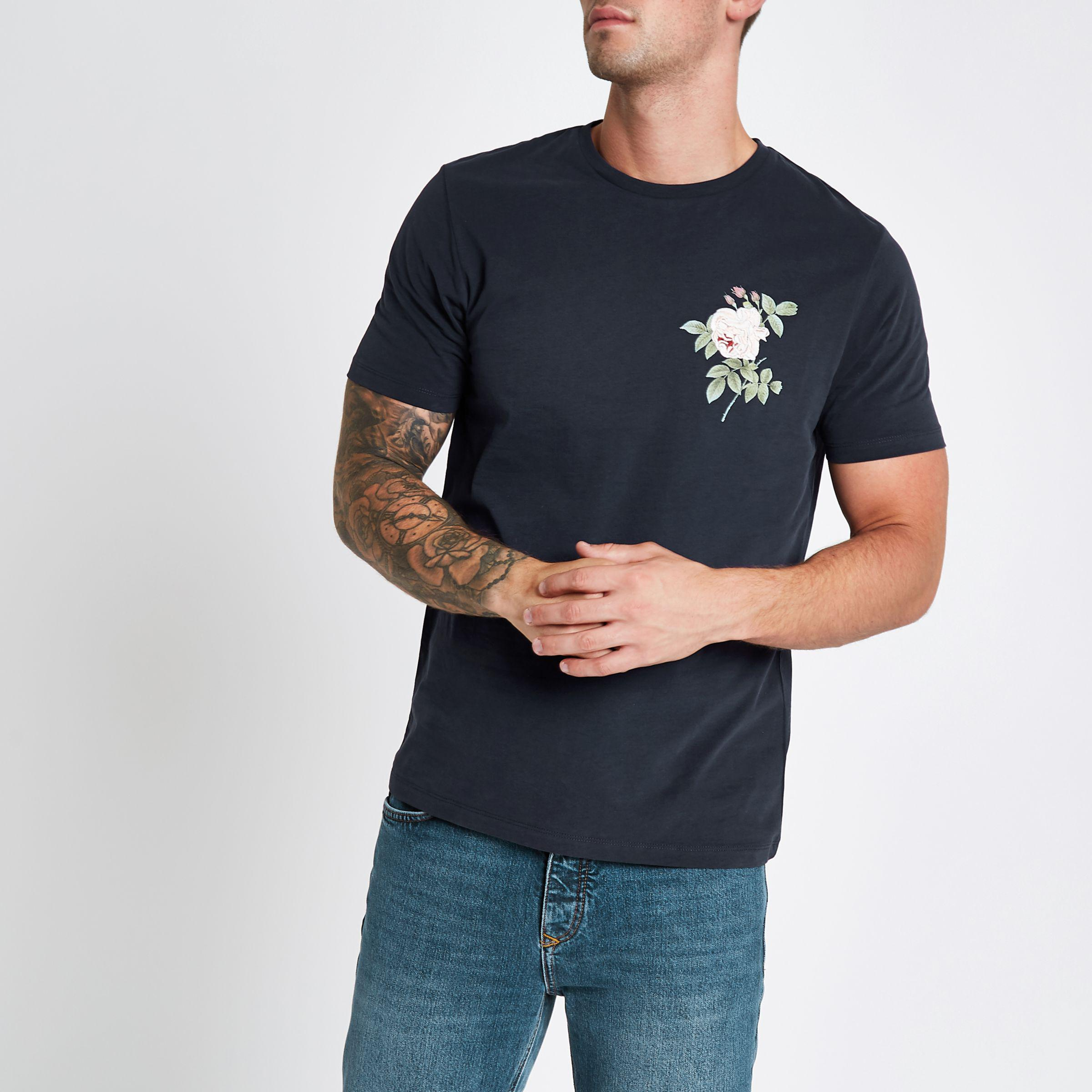 80b1c73a Lyst - River Island Rose Embroidered Slim Fit T-shirt in Blue for Men