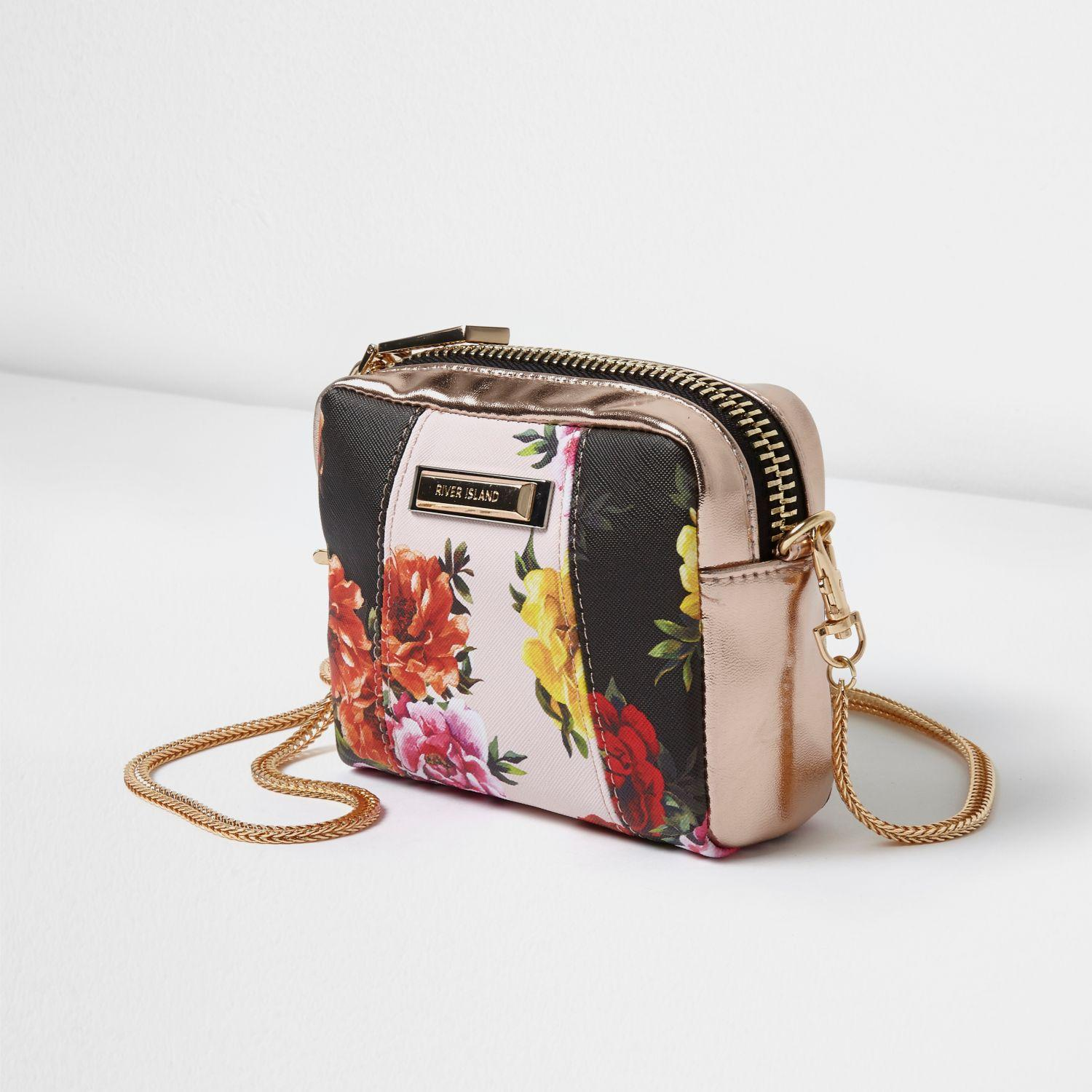 Lyst - River Island Black Floral Panel Mini Cross Body Chain Bag In Black