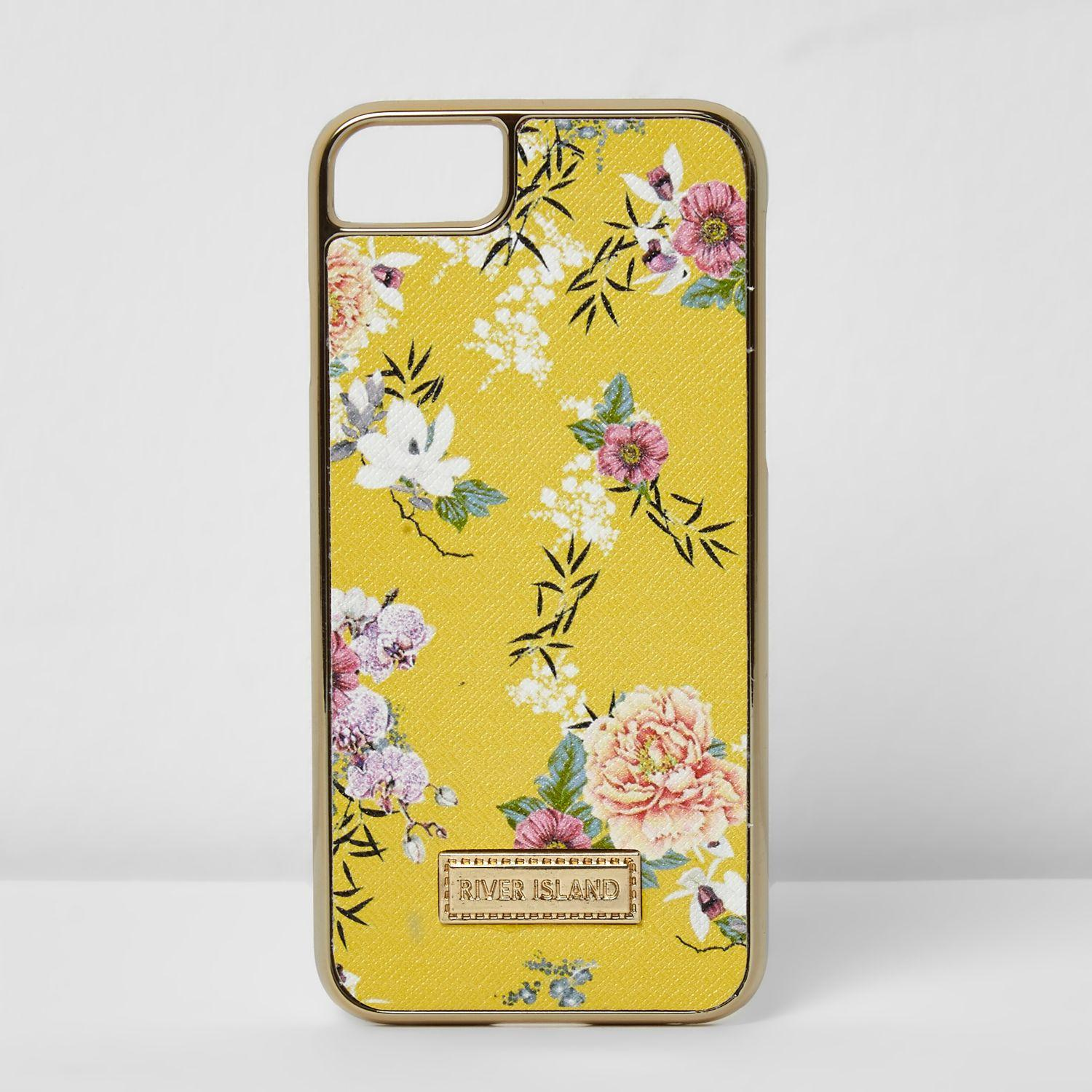 Lyst - River Island Yellow Floral Iphone 6 7 Case in Yellow abb7930b8