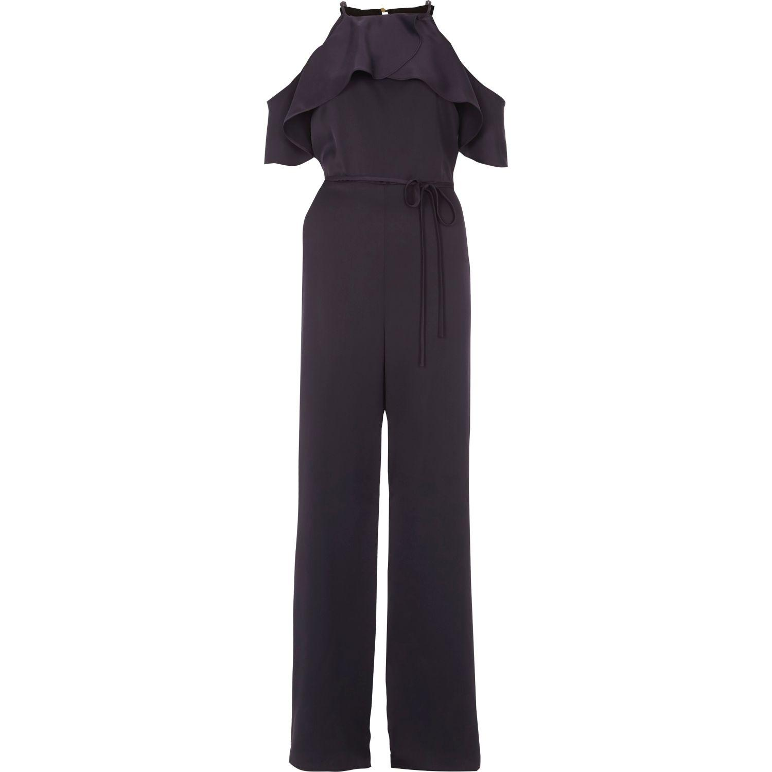 River Island Frill Sleeve Wide Leg Jumpsuit