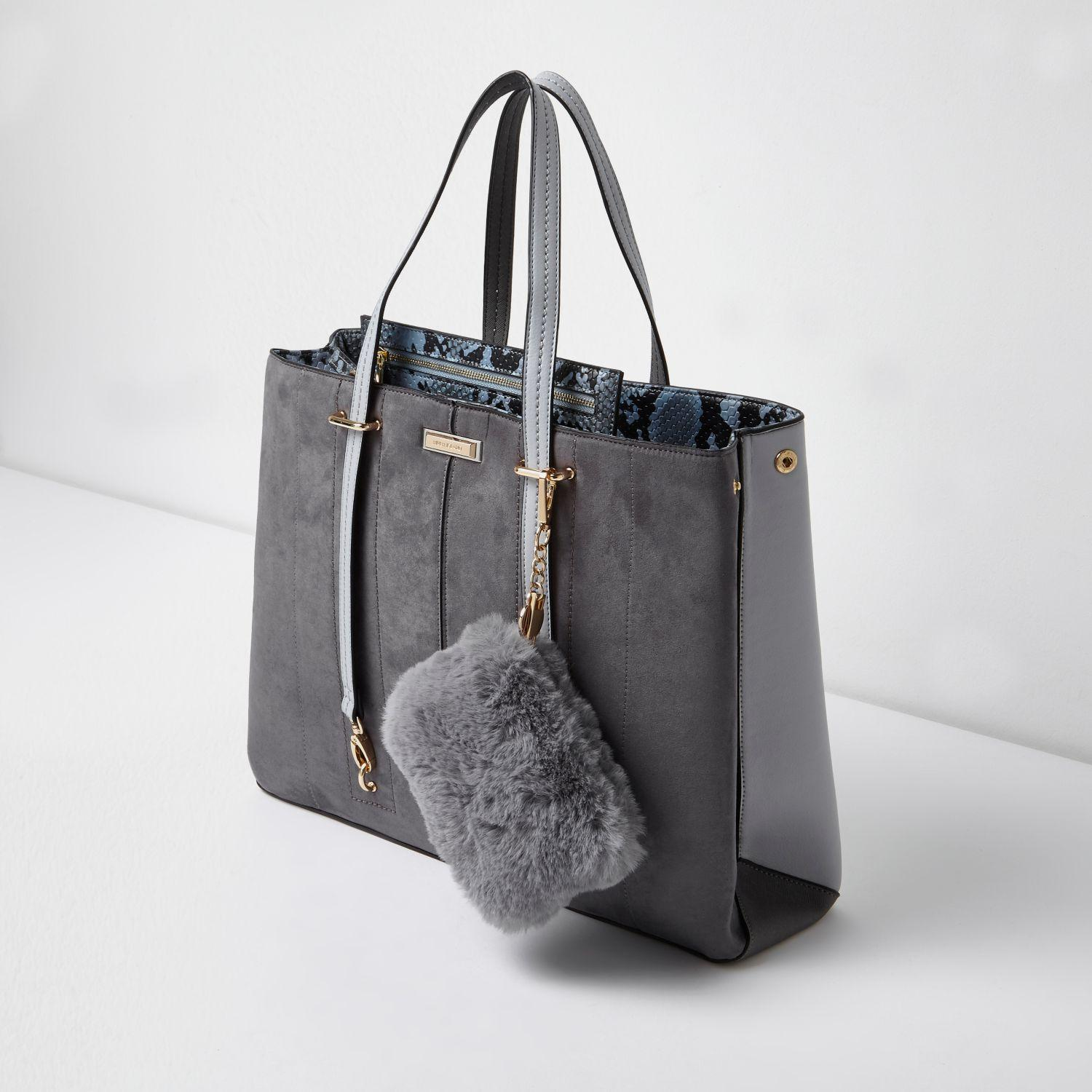 dcc80a95bb River Island Grey Long Handle Fur Pouchette Tote Bag in Gray - Lyst