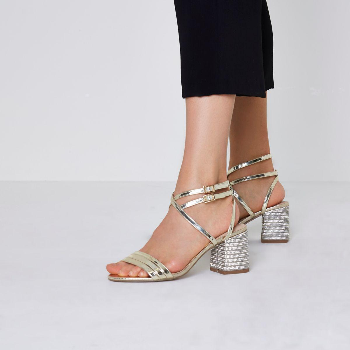 b8a06688d583 River Island Gold Wide Fit Metallic Diamante Heel Sandals Gold Wide ...