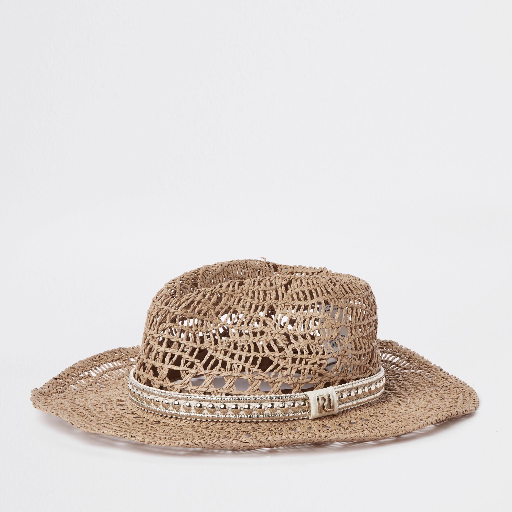 b551256dd River Island Beige Western Style Straw Hat in Natural - Lyst