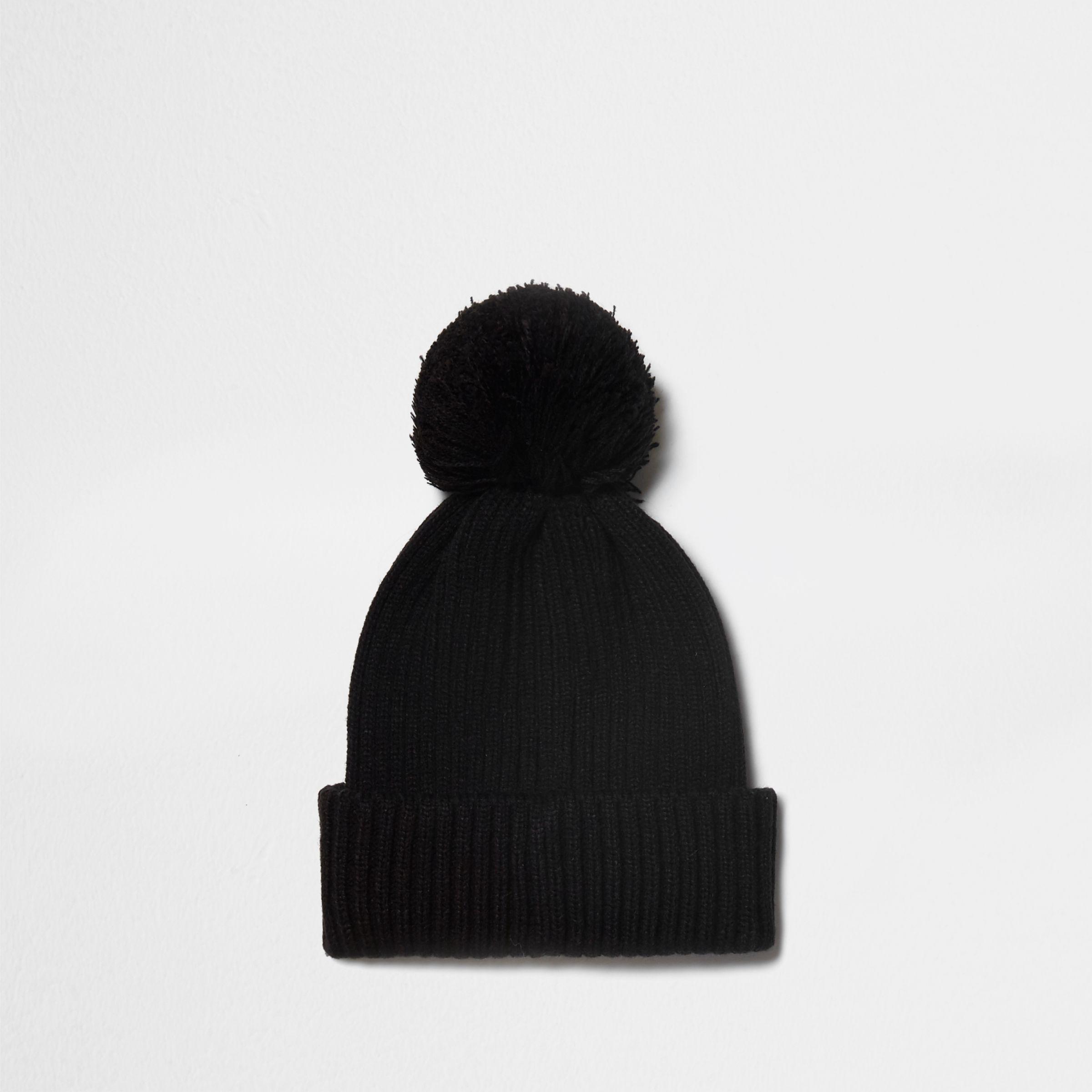 ec44bef871e Men s Black Pom Pom Ribbed Knit Beanie Hat Black Pom Pom Ribbed Knit Beanie  Hat