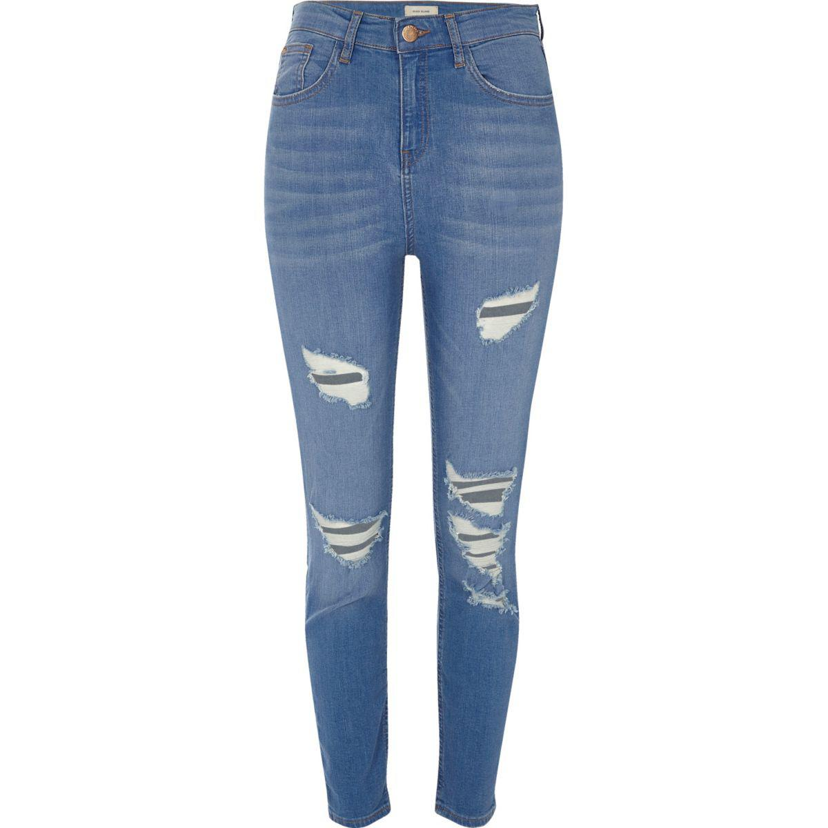 Lyst River Island Blue Wash Lori Ripped Skinny Jeans In Blue