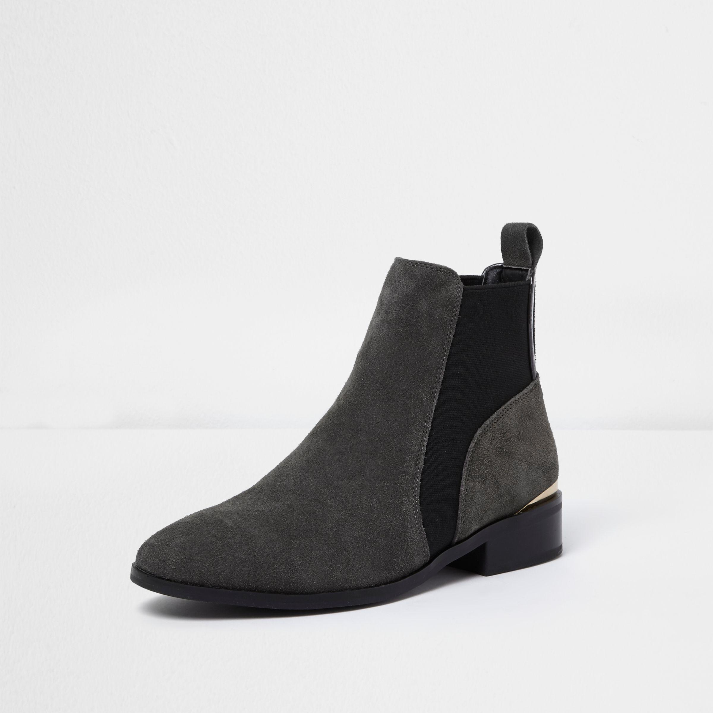 7c985b1c89588 Lyst - River Island Grey Wide Fit Suede Gold Trim Chelsea Boots in Gray