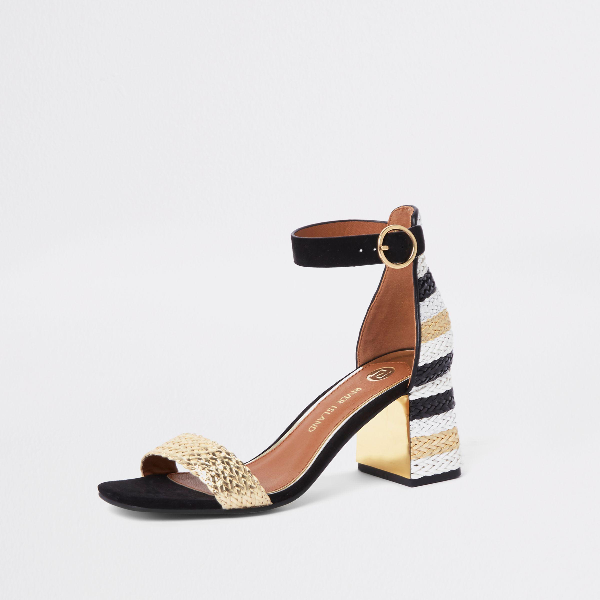f534d302ce4f Lyst - River Island Black Woven Metallic Block Heel Sandals in Black