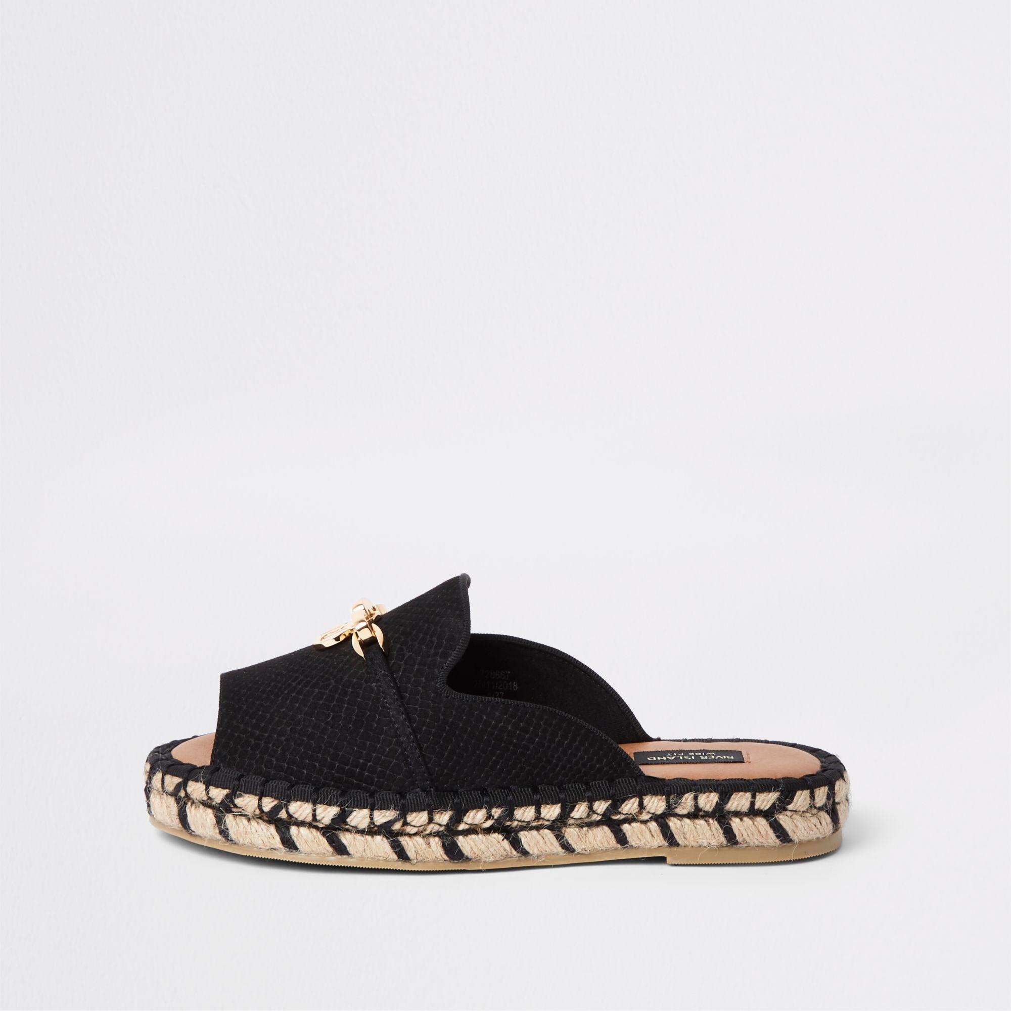 82983c60255 Lyst - River Island Espadrille Peep Toe Wide Fit Sandals in Black