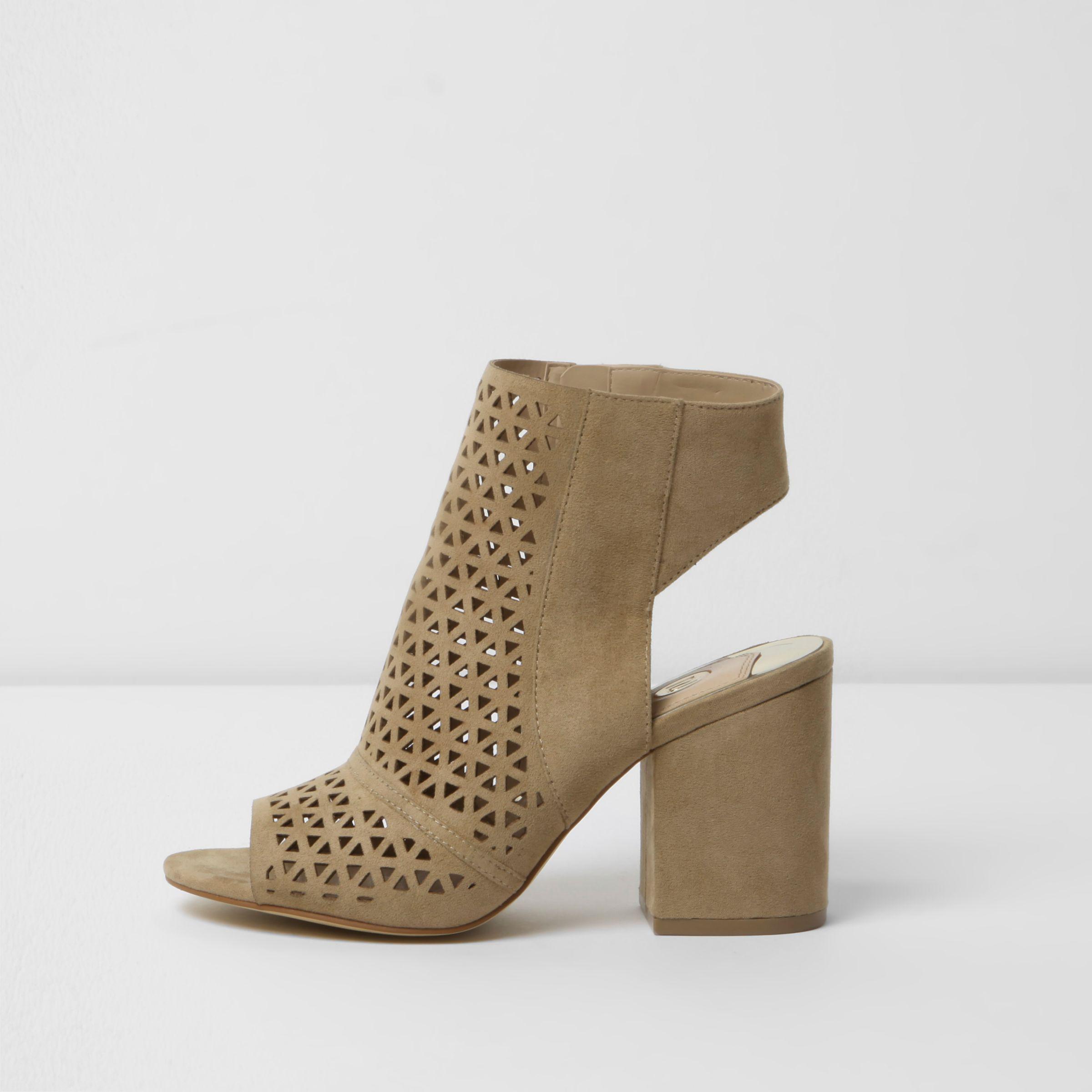 Fake Womens Beige laser cut peep toe shoe boots River Island Cheap Free Shipping Genuine Online Discount 2018 New rokkv5l