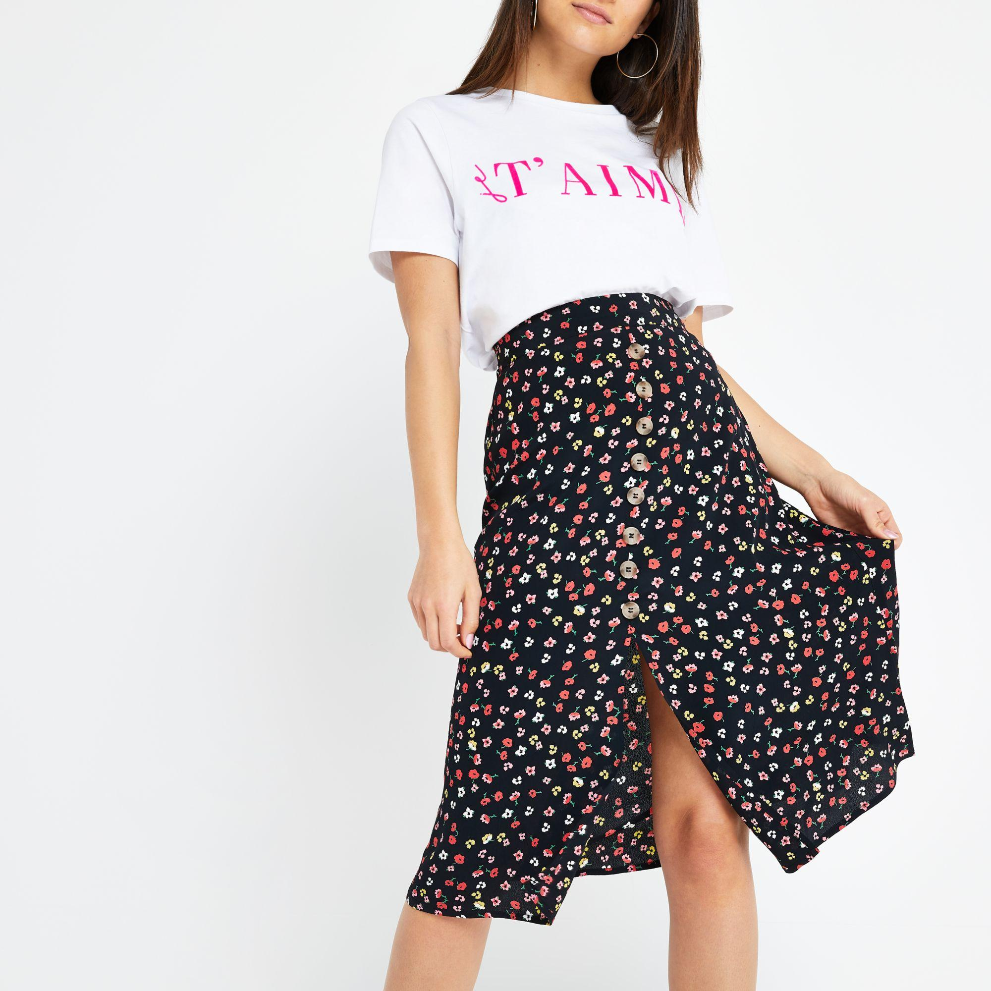 most fashionable casual shoes largest selection of River Island Petite Black Ditsy Floral Midi Skirt in Black ...