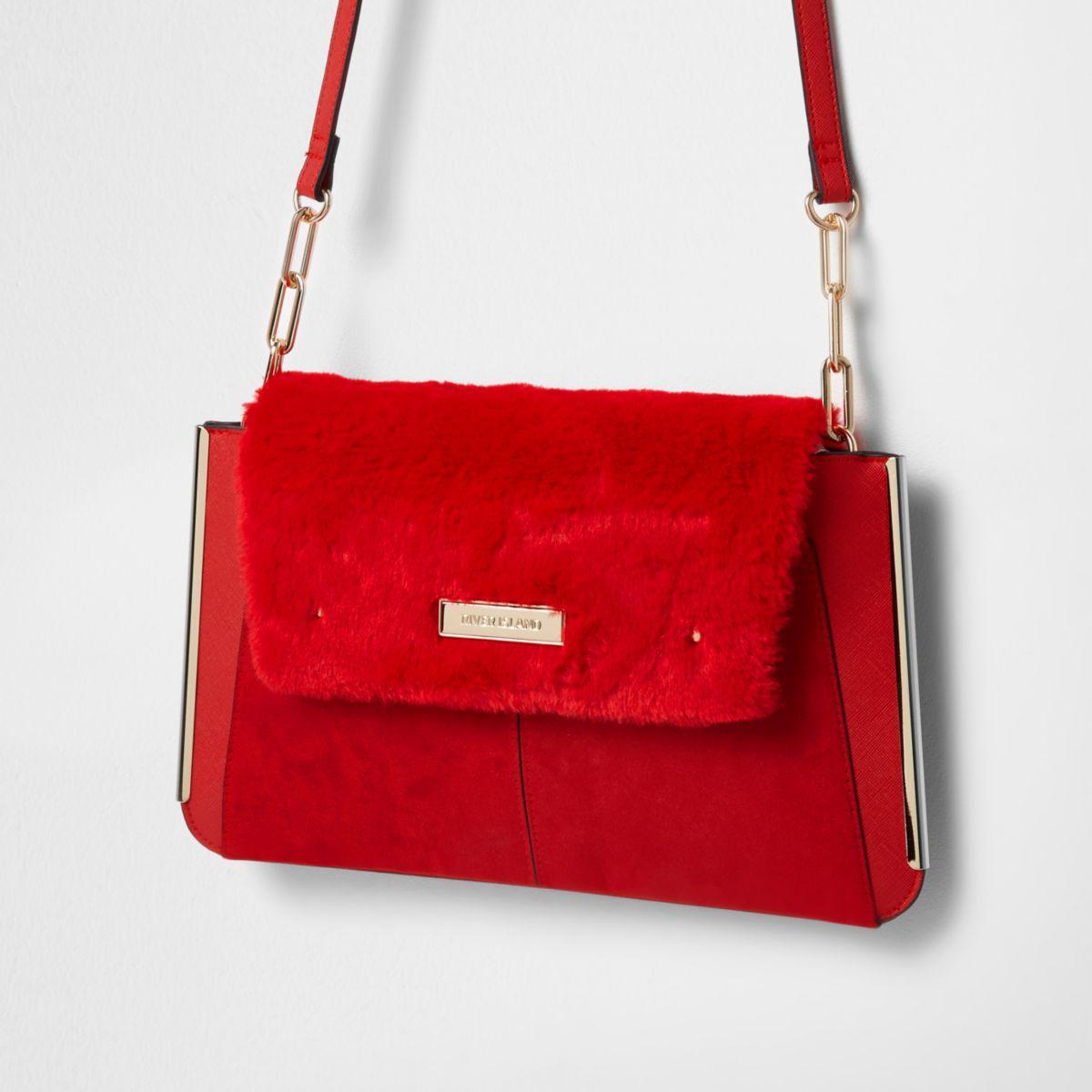 9895b9414047 Lyst - River Island Red Faux Fur Flap Envelope Clutch Bag Red Faux ...