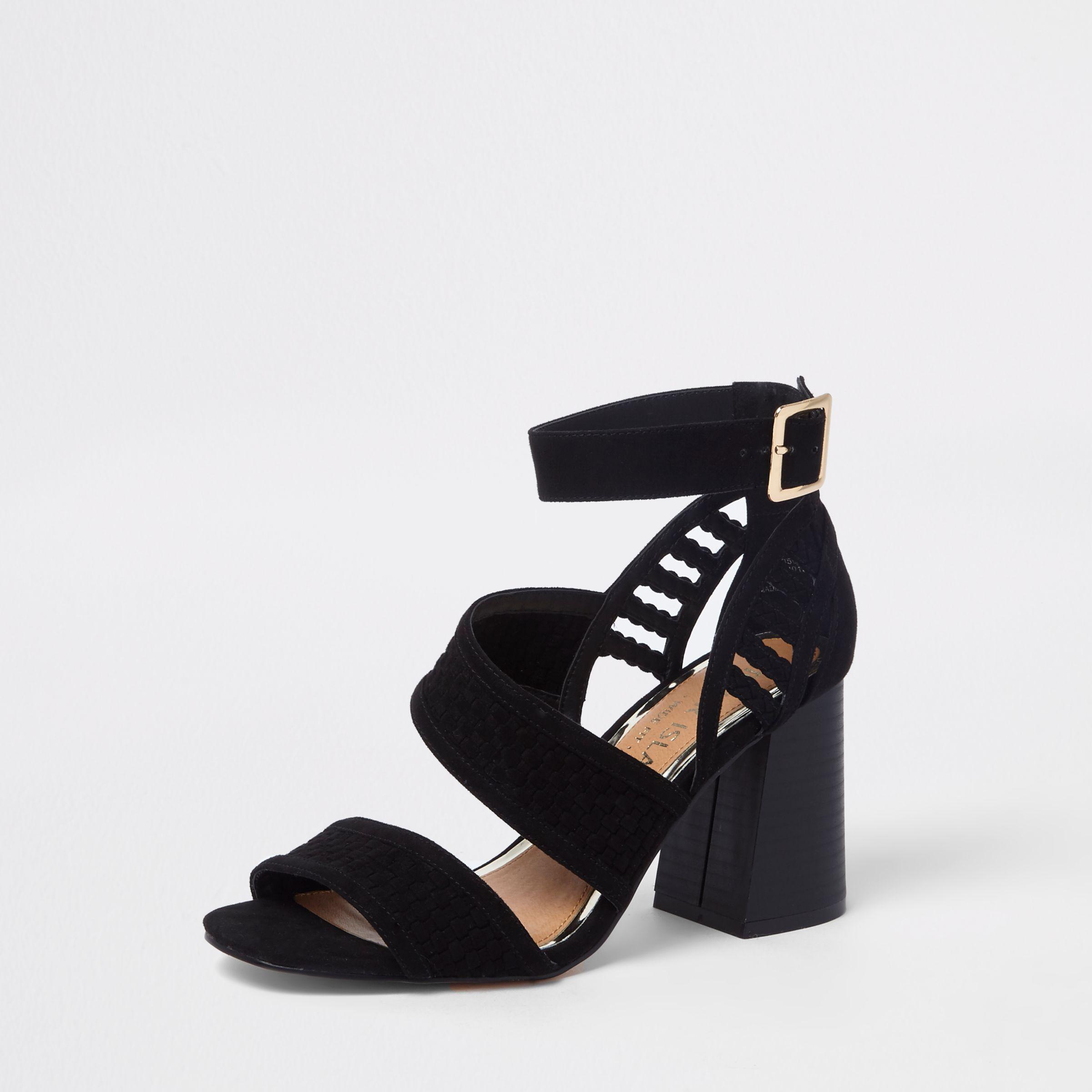 d46f49763b River Island Black Wide Fit Strappy Block Heel Sandals in Black - Lyst