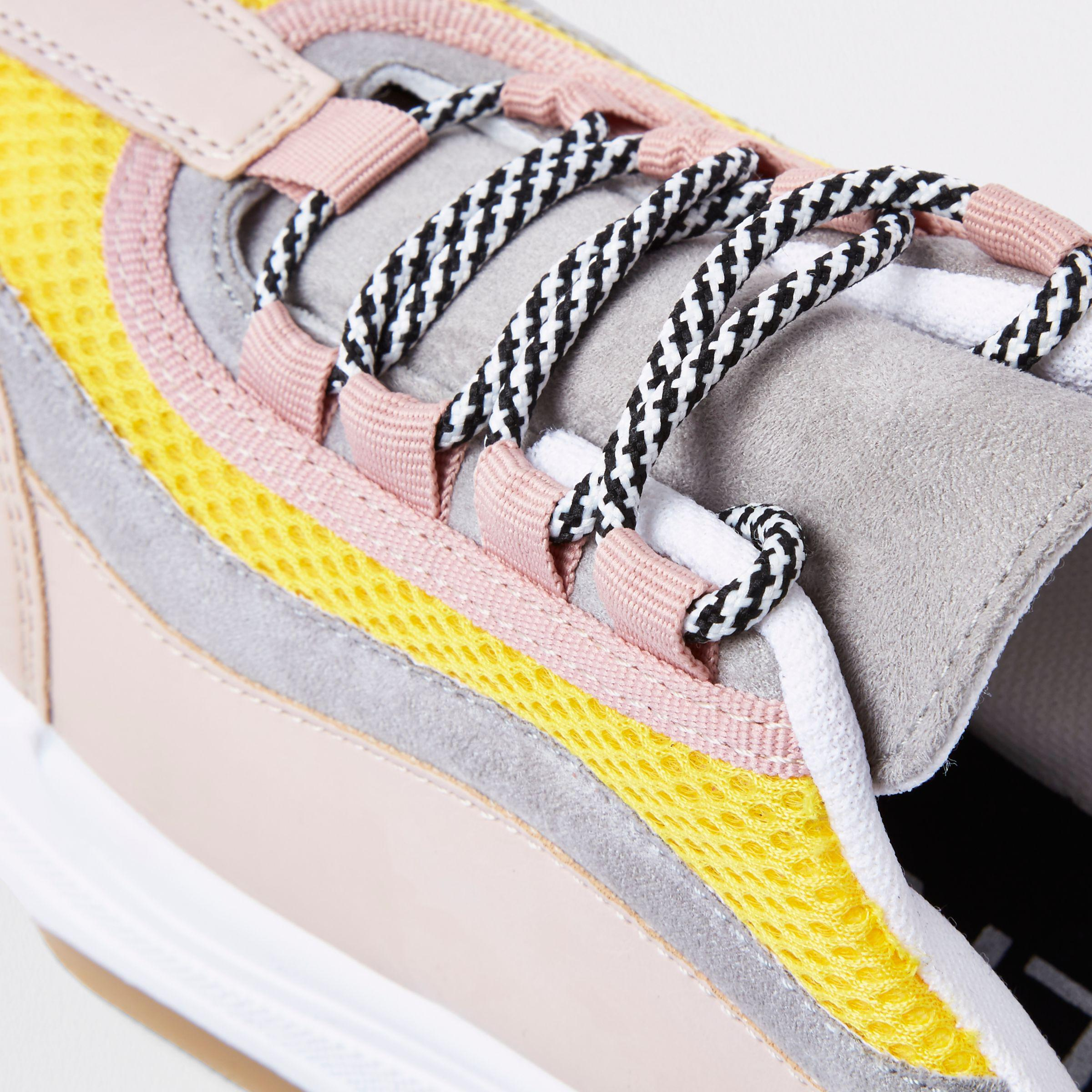 f577589f7bc Lyst - River Island Pink Chunky Platform Lace-up Sneakers in Pink