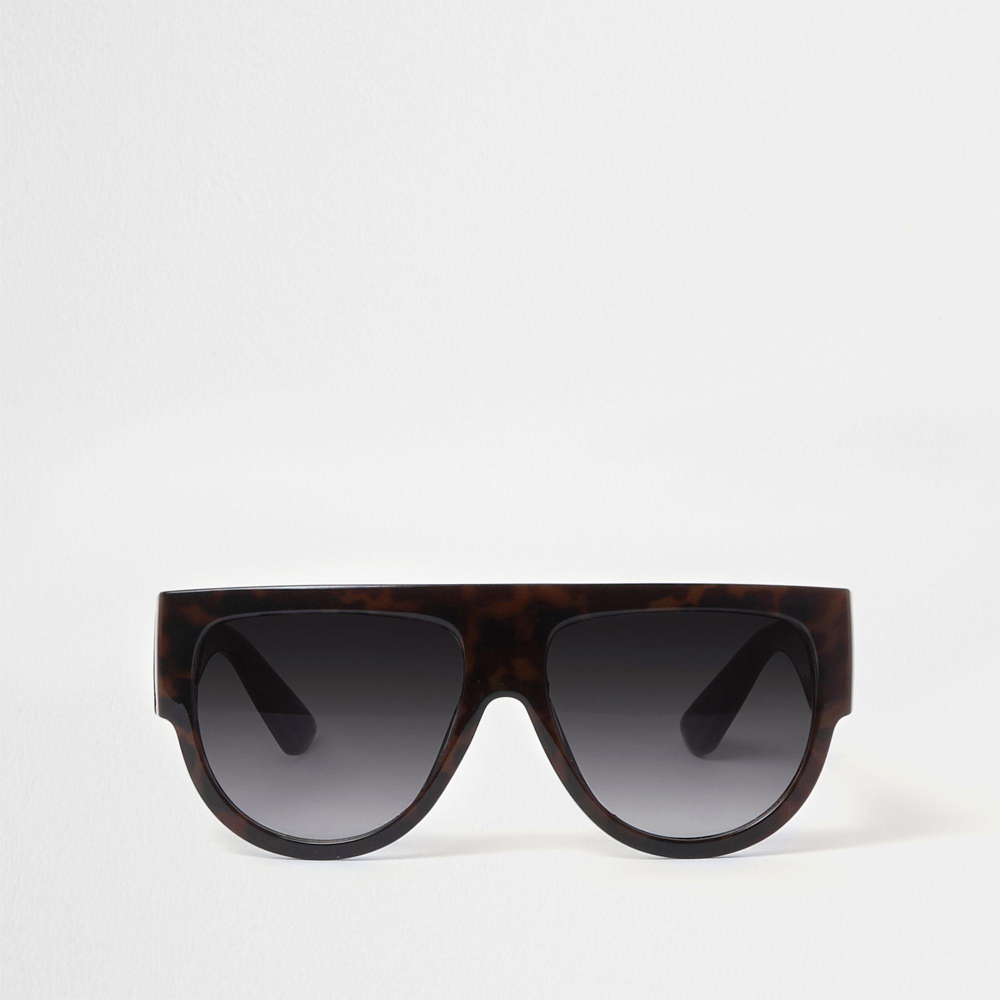 9dc68e574d5c River Island Flat Top Tortoiseshell Sunglasses in Black - Lyst