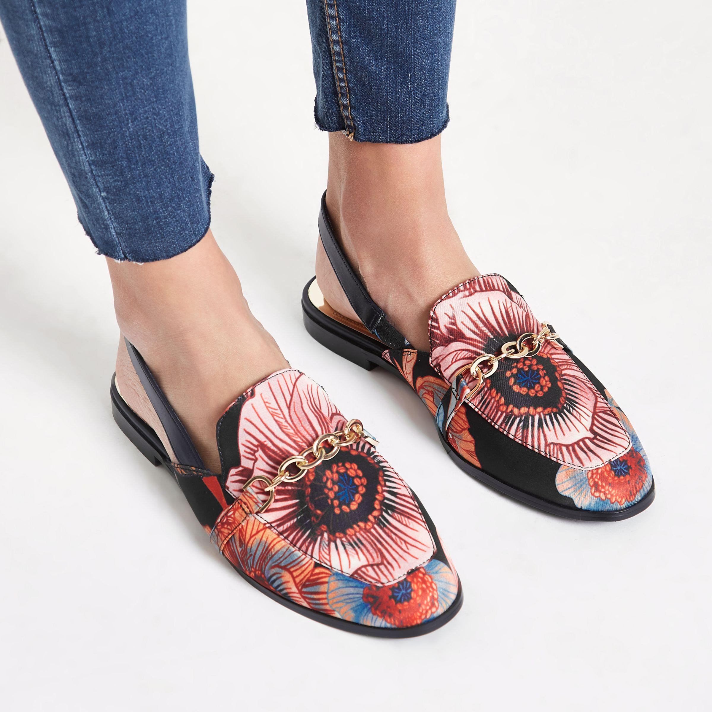 Lyst River Island Black Floral Chain Backless Loafer In D Shoes Slip On Mocasine Casual Loafers Gallery