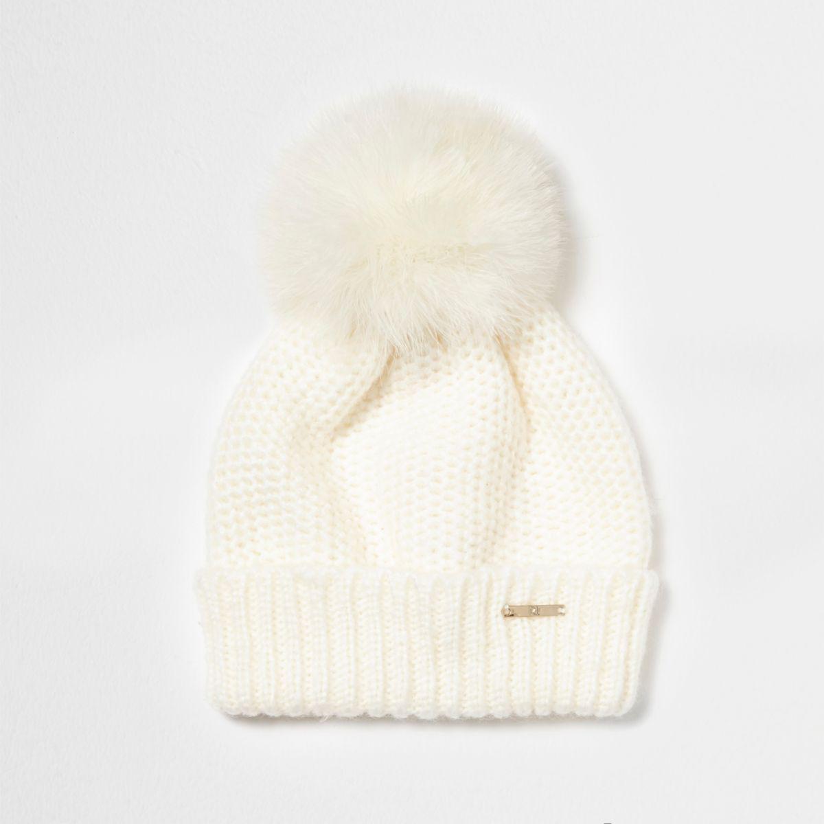 54c9b40c3fb Lyst - River Island Cream Faux Fur Bobble Hat Cream Faux Fur Bobble ...