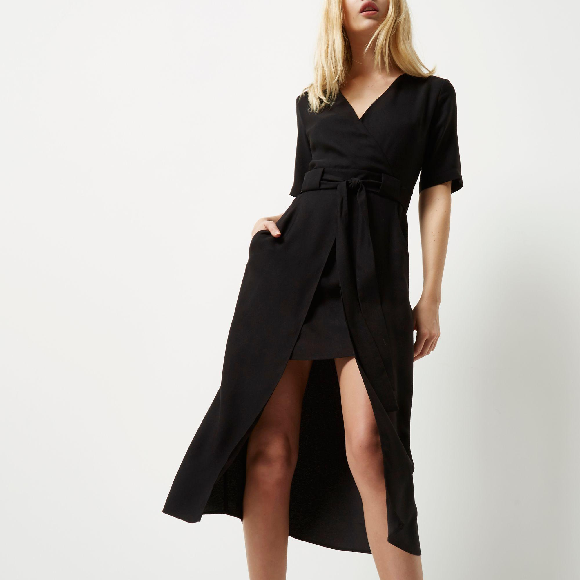 2c131aef394 Black Wrap Short Sleeve Midi Dress – Little Black Dress | Black Lace ...