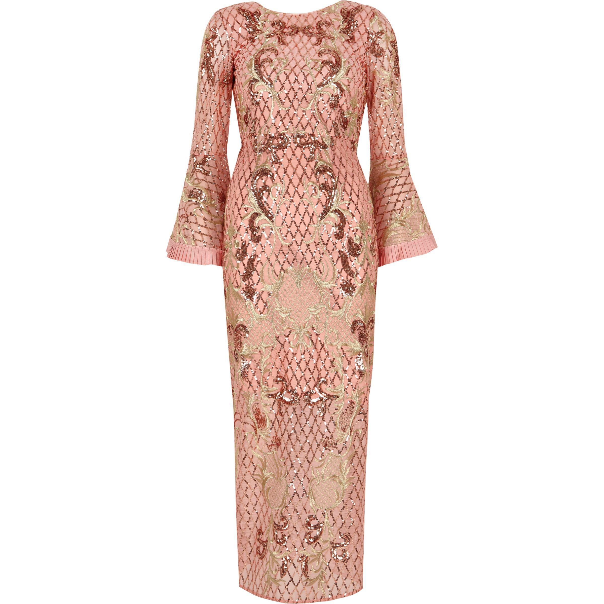 189c6dd7d7 River Island Petite Pink Sequin Embellished Maxi Dress in Pink - Lyst