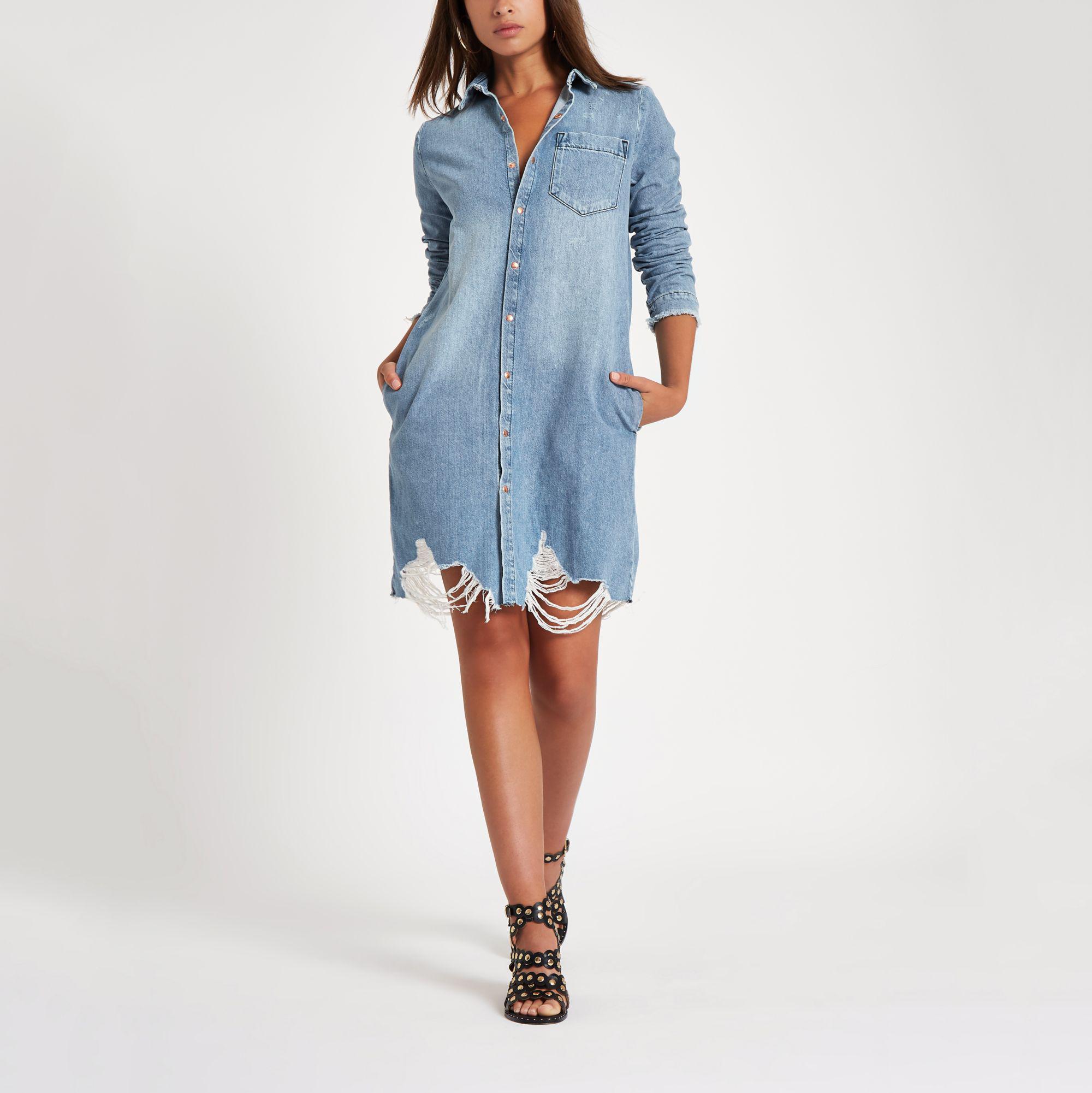 bf8a611e05 River Island Ripped Denim Shirt Dress in Blue - Lyst