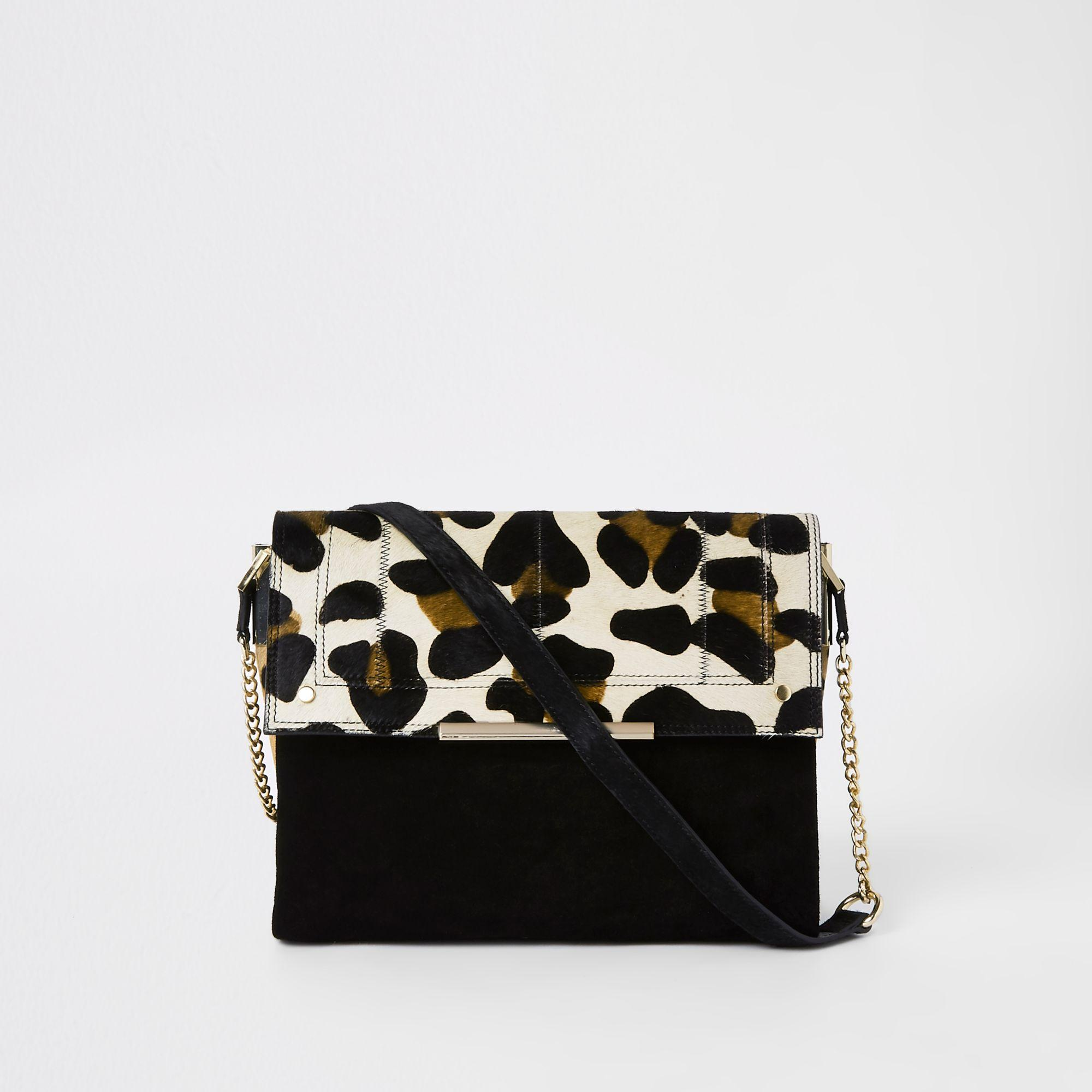 422175045fbc River Island Suede Leather Leopard Under Arm Bag in Black - Lyst