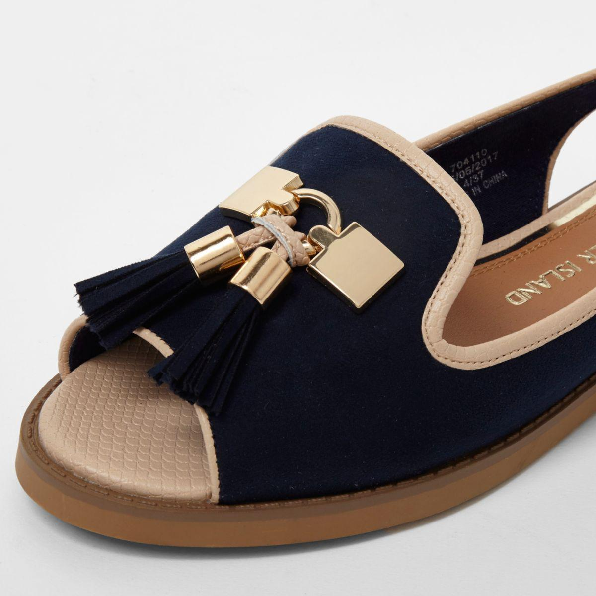 3122362099 River Island Navy Peep Toe Slingback Loafers in Blue - Lyst