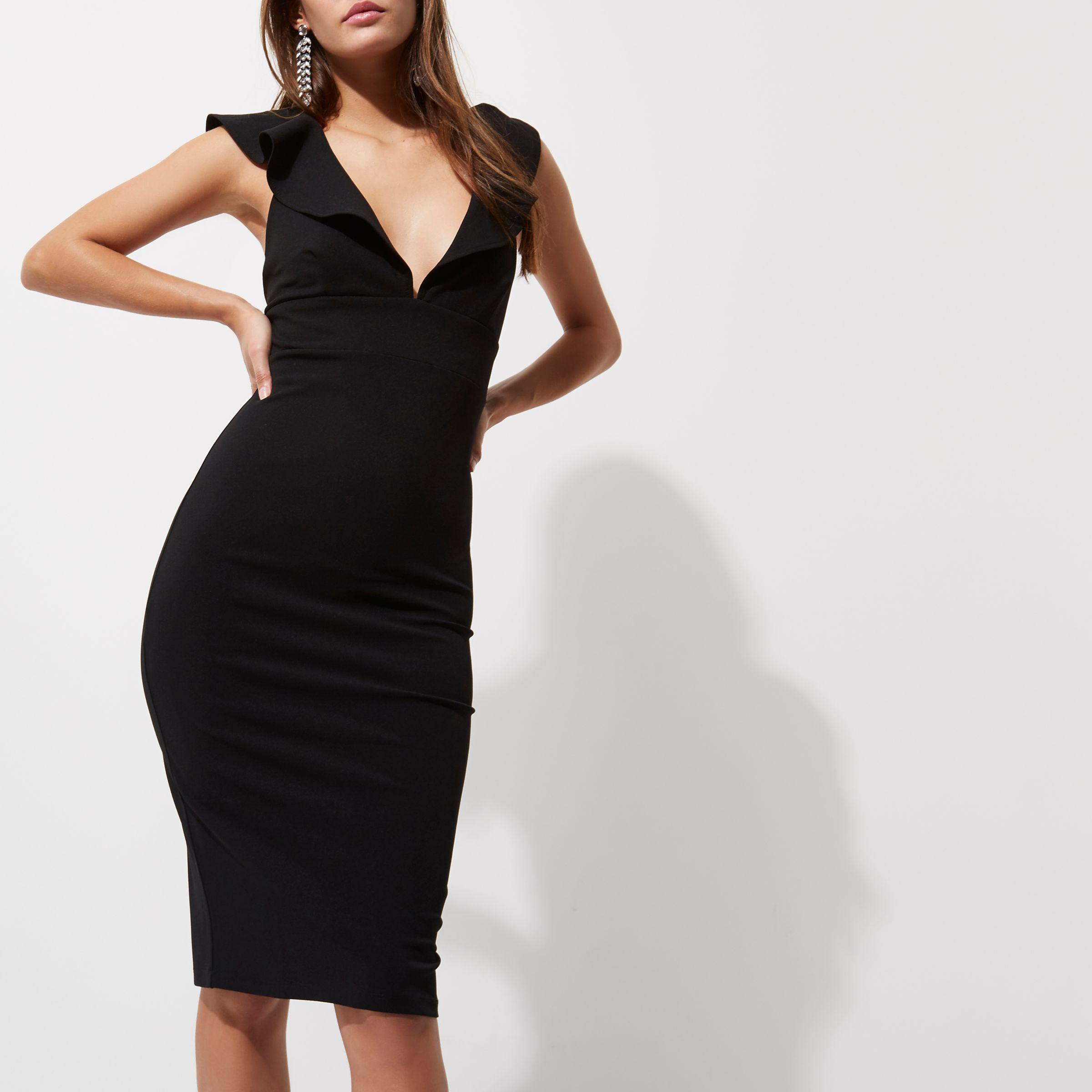 8c4c4d8682 River Island Black Frill Shoulder Plunge Bodycon Dress in Black - Lyst