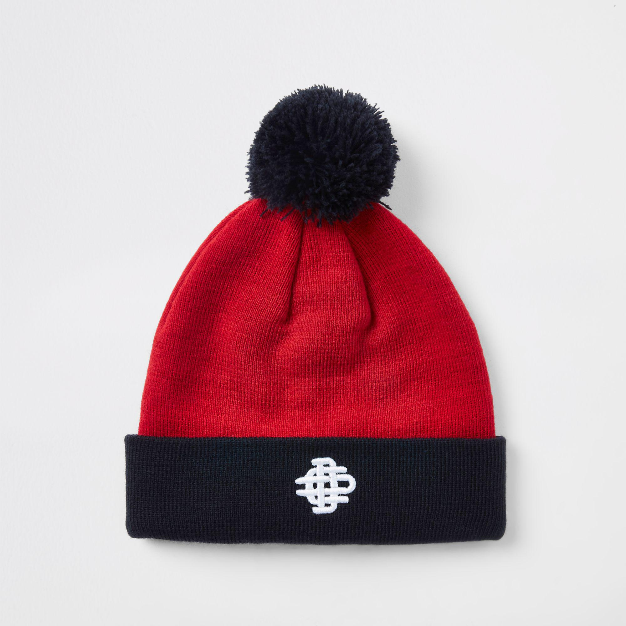 55dec3458fd Lyst - River Island Contrast Bobble Beanie Hat in Red for Men