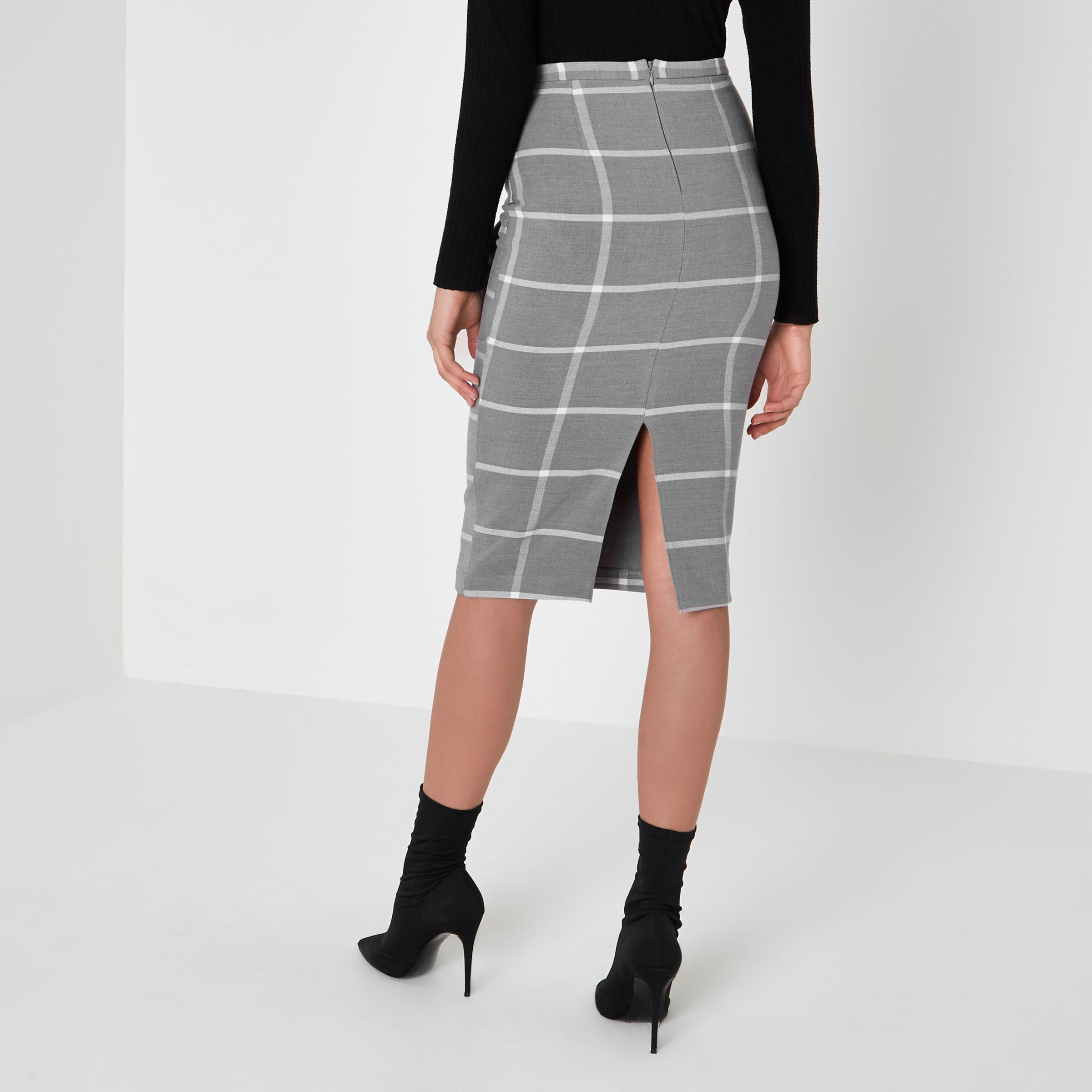 c63a63e297 River Island Grey Wide Check Bow Front Pencil Skirt in Gray - Lyst