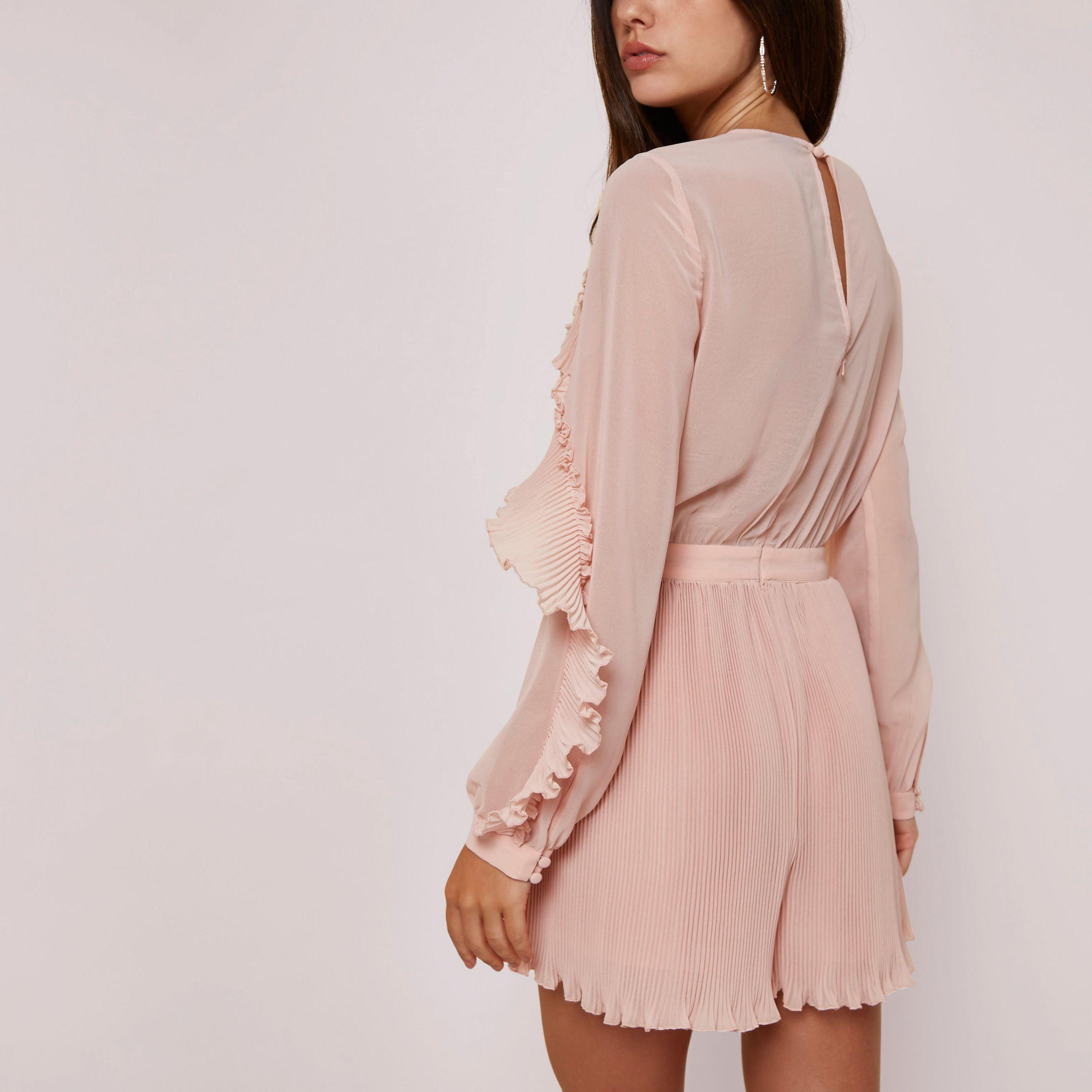 3b2c549445 River Island Light Pink Long Sleeve Pleated Frill Playsuit in Pink ...