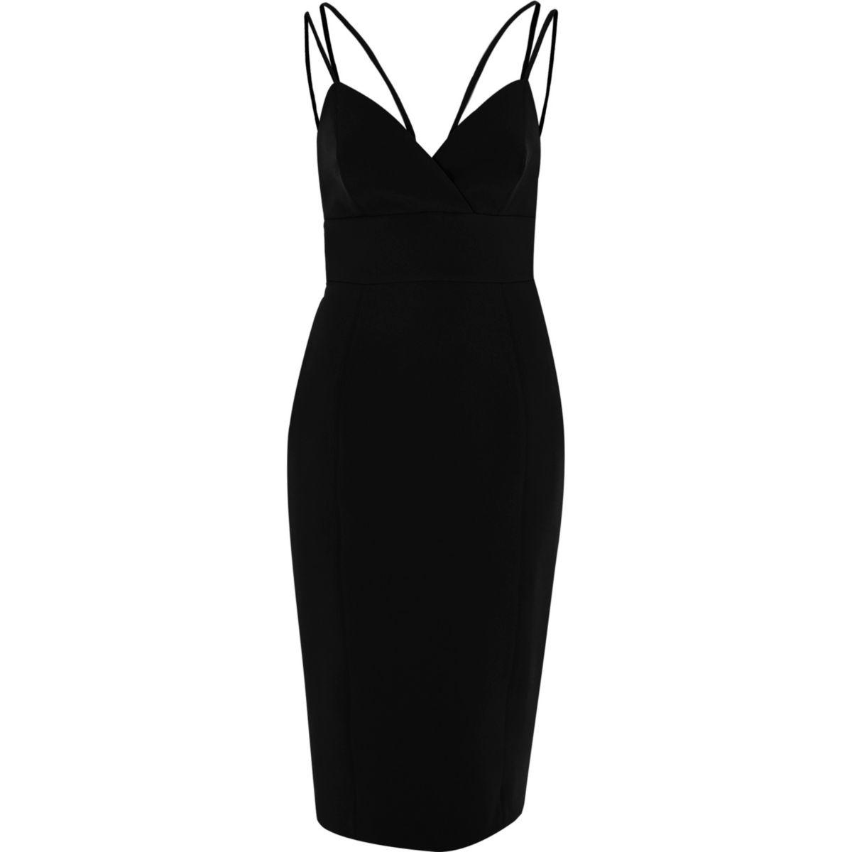 wedding guest dress river island lyst river island black strappy bodycon midi dress black