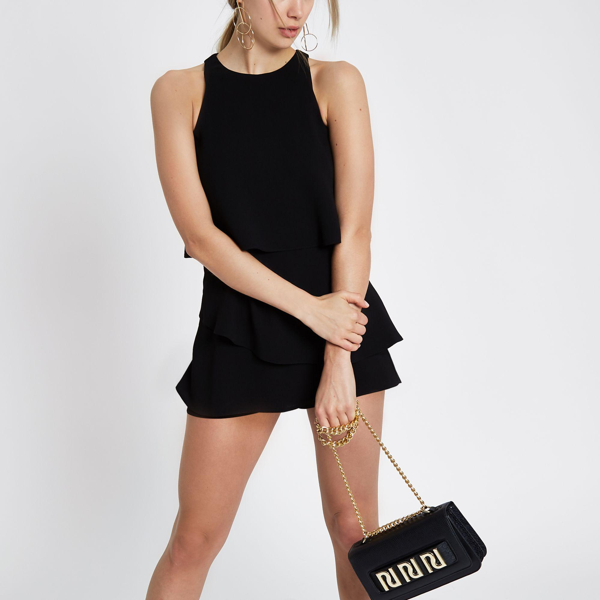 ce7be58433 River Island Black Tiered Frill Playsuit in Black - Lyst