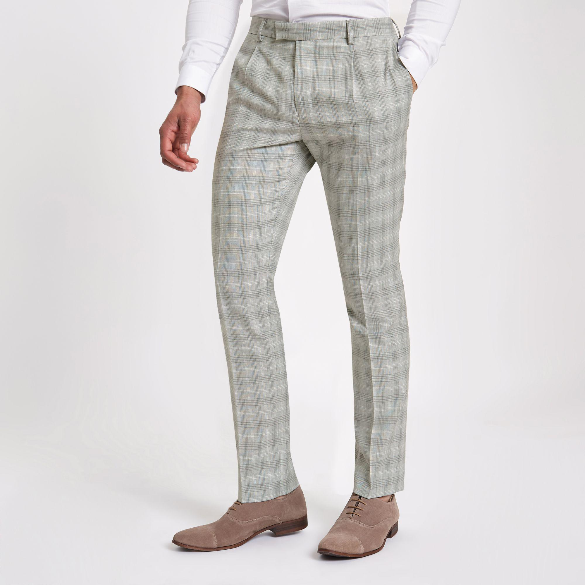 74410814e4cbc River Island Light Grey Check Slim Fit Suit Trousers in Gray for Men ...