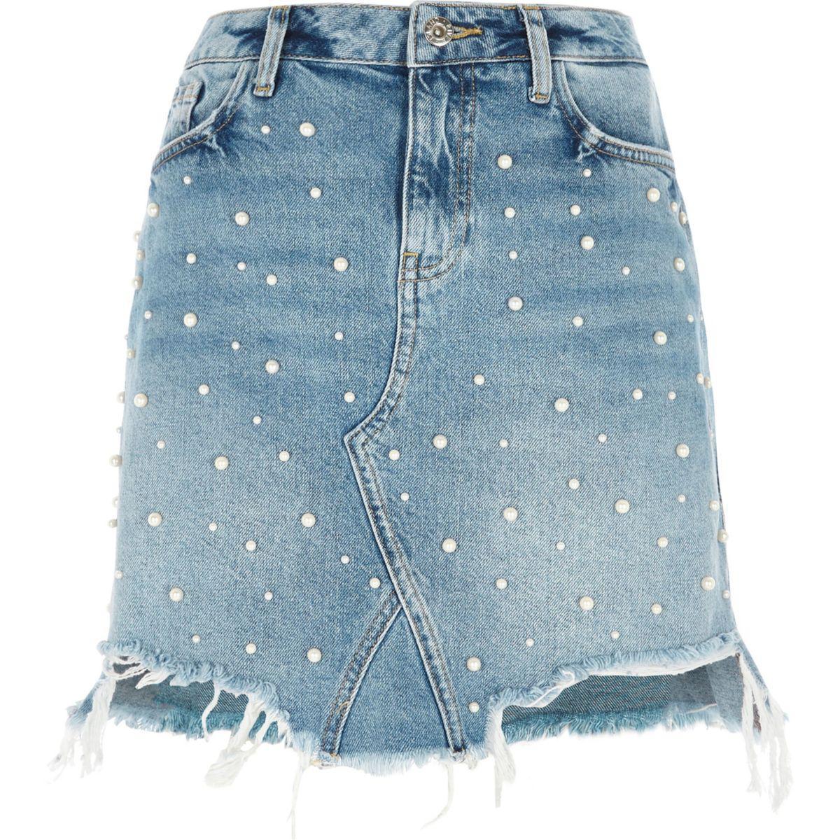 river island mid blue faux pearl ripped denim mini skirt