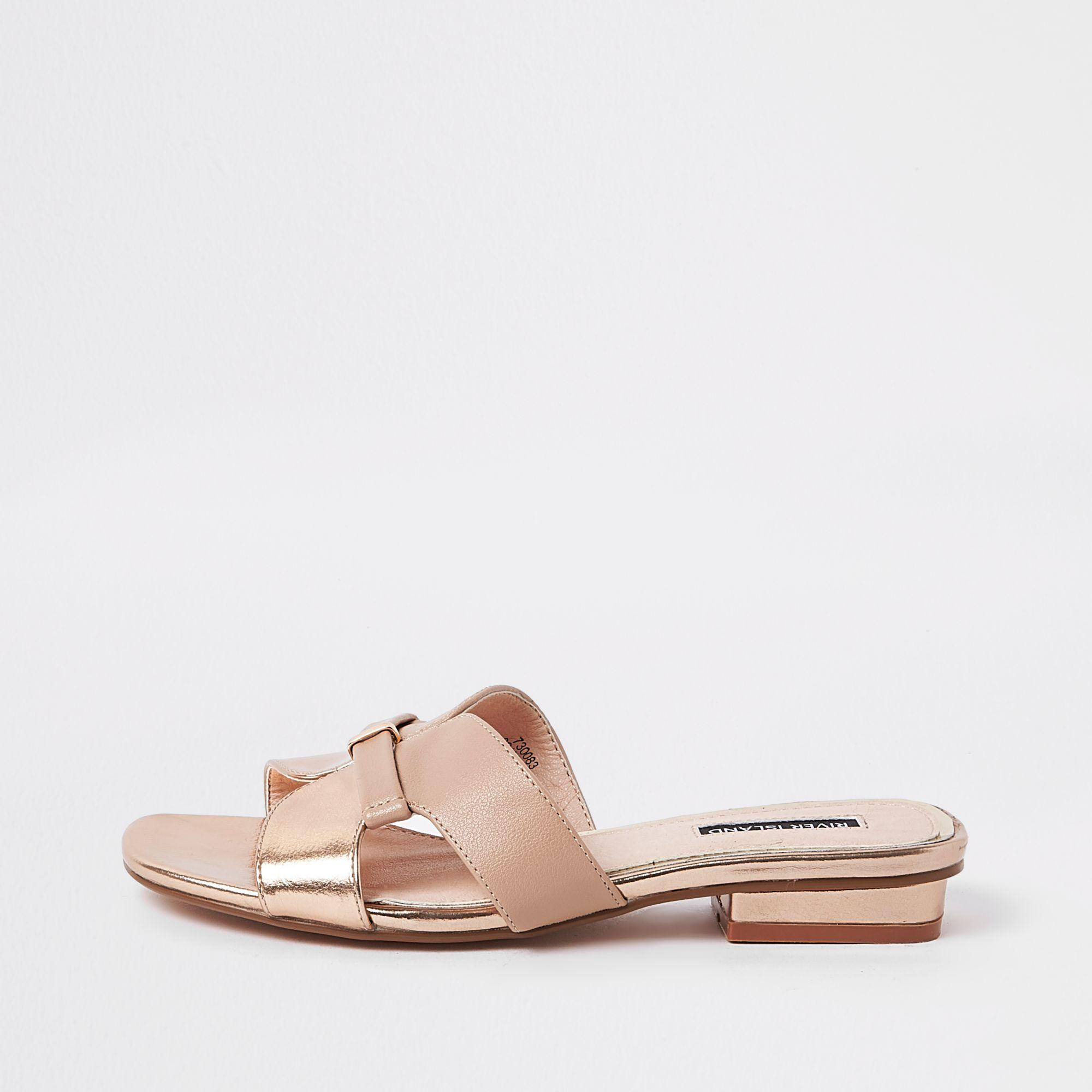 6146723b4a77 Lyst - River Island Rose Gold Faux Leather Flat Mule Sandals in Metallic