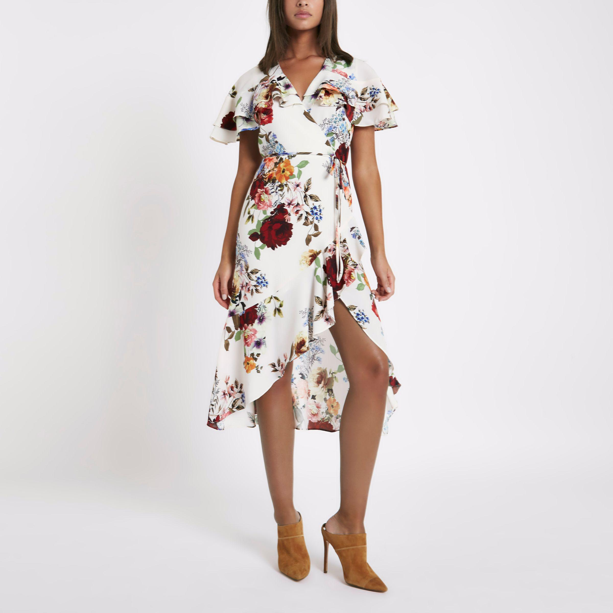 f789bead53 River Island Cream Floral Frill Wrap Tie Waist Midi Dress in Natural ...