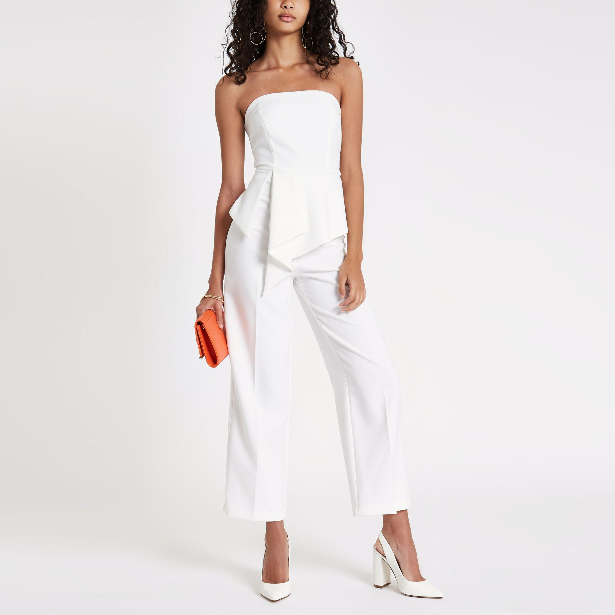 9022e5d5bfa River Island Frill Front Bardot Jumpsuit in White - Lyst