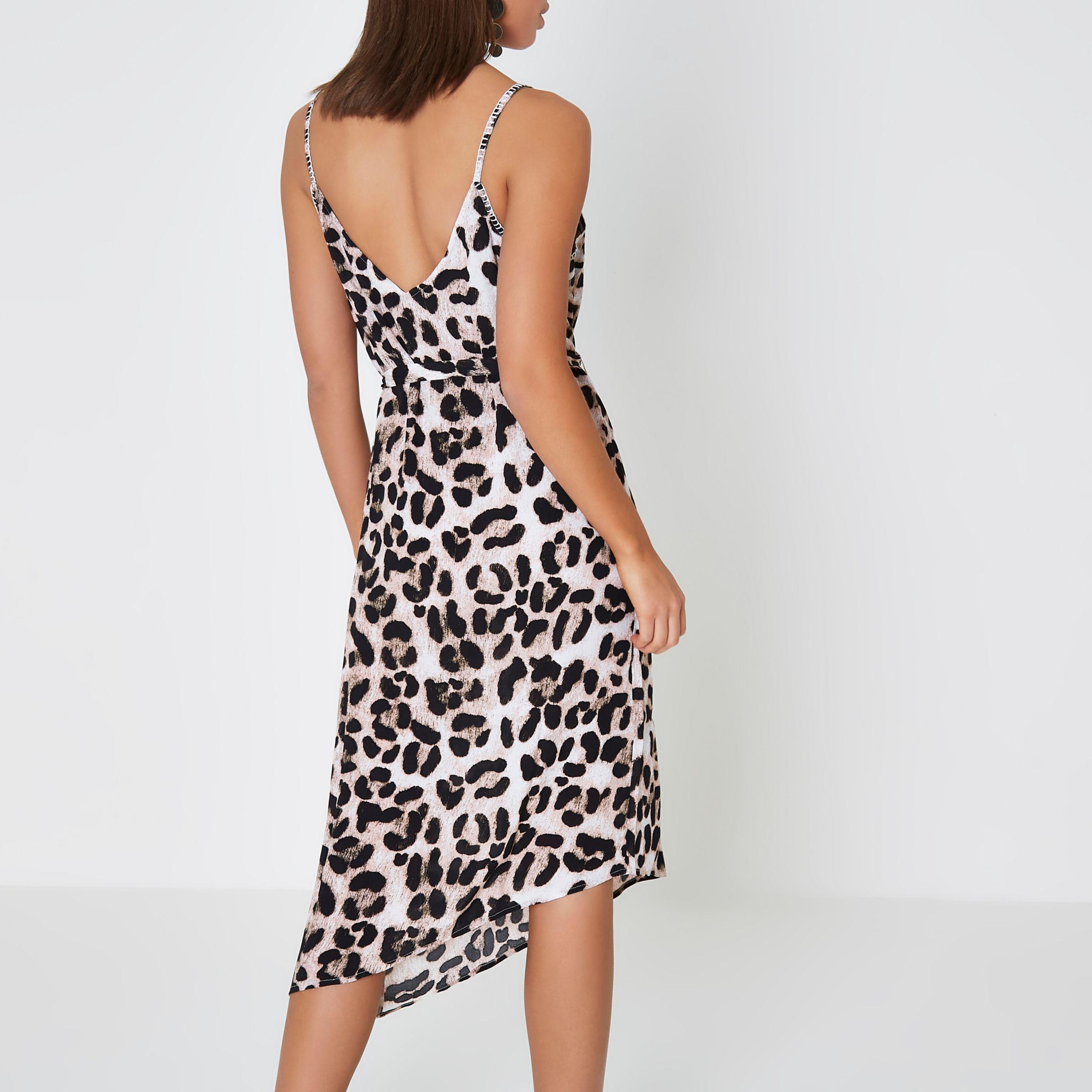 ec689c72907c River Island Brown Leopard Print Midi Slip Beach Dress in Brown - Lyst
