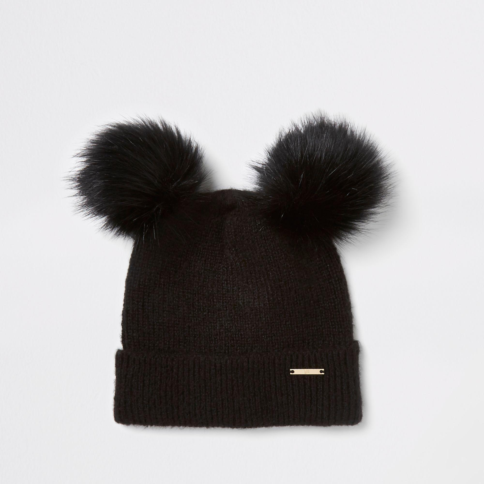966434918ad River Island Black Faux Fur Double Pom Pom Beanie Hat in Black - Lyst
