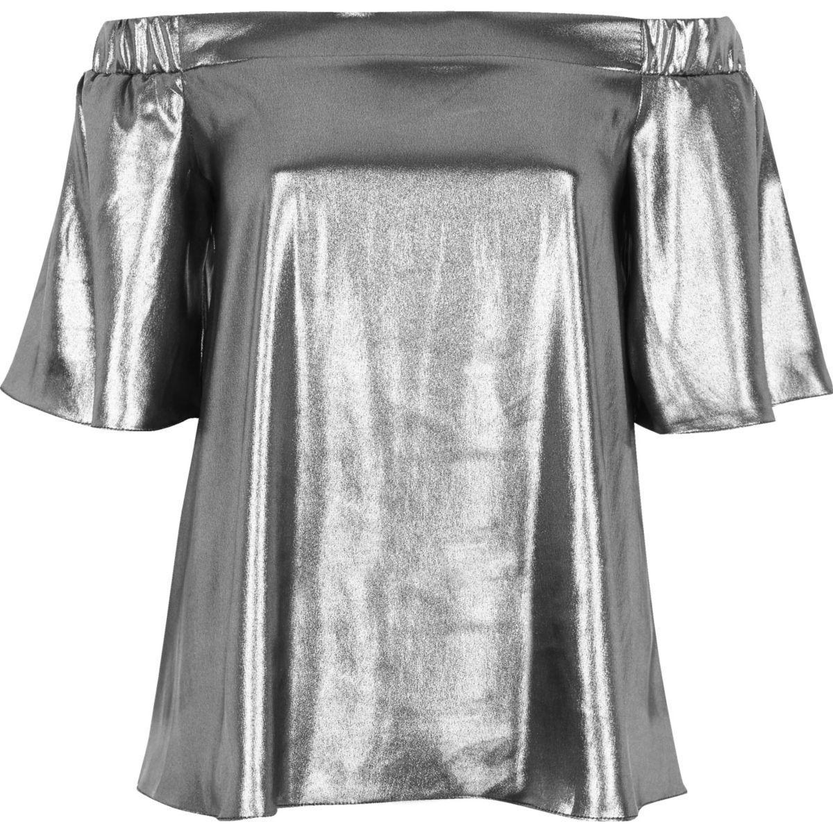 93f952f6b27ec Lyst - River Island Silver Metallic Bardot Top in Gray