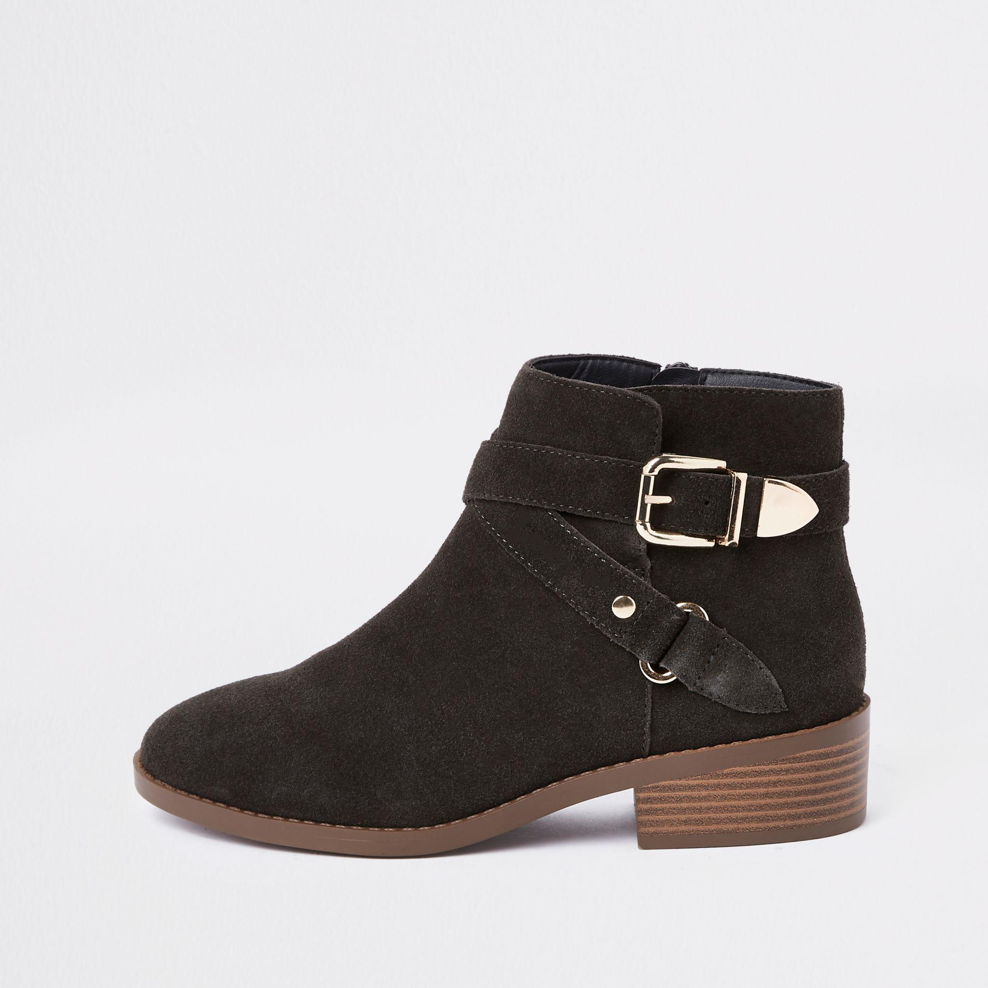 20a34384a4aa River Island Dark Suede Buckle Ankle Boots in Gray - Lyst