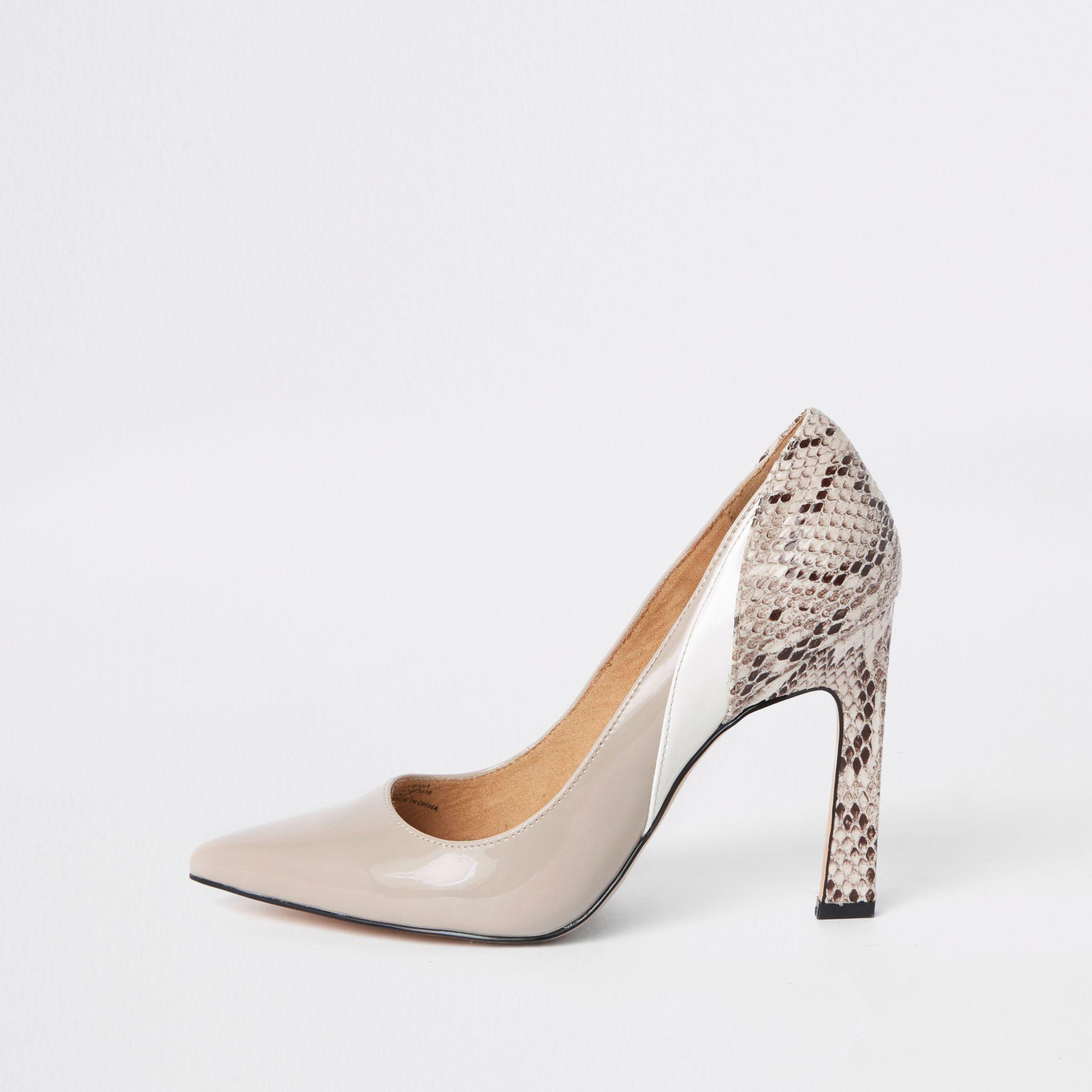 edee12fc0f7 Lyst - River Island Beige Snake Print Panel Court Shoes in Natural