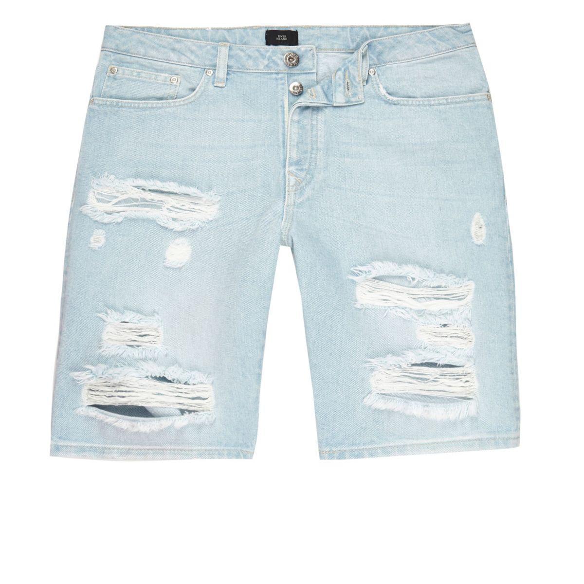 7e043734f8c14 Lyst - River Island Light Blue Wash Ripped Slim Fit Denim Shorts in ...